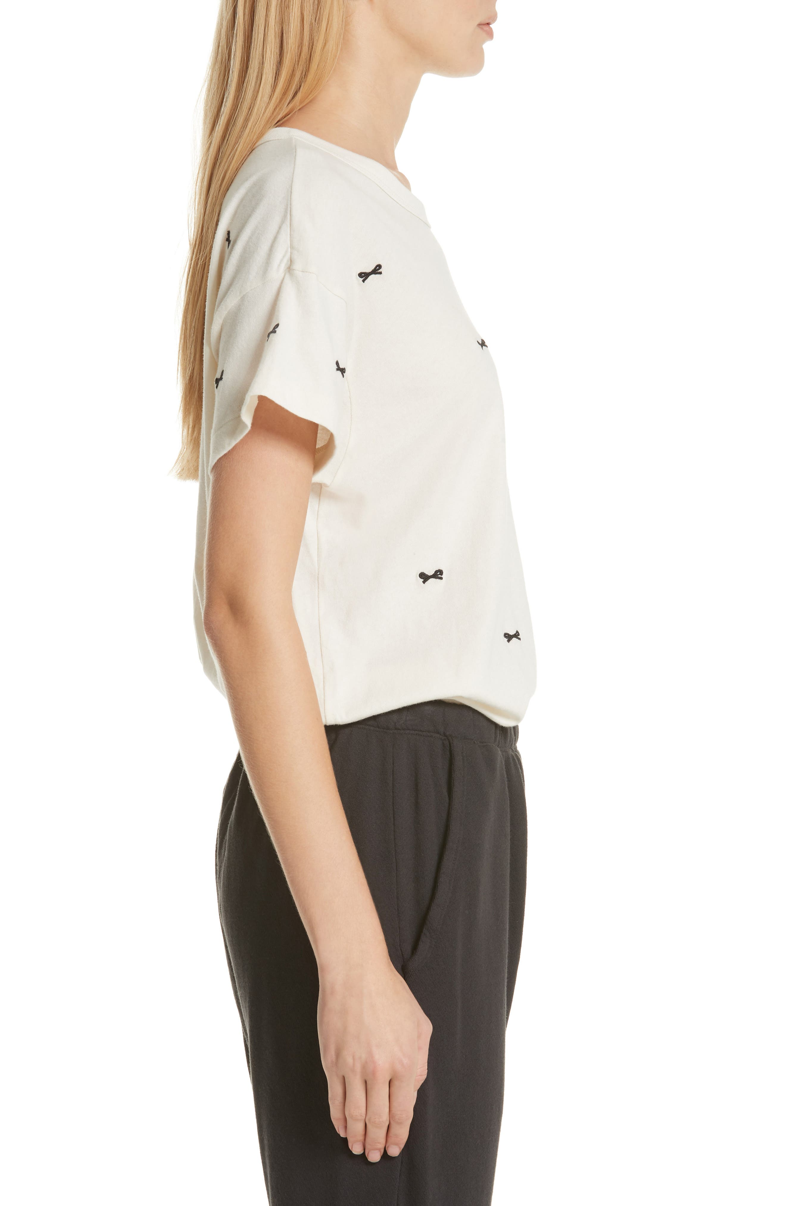 The Embroidered Boxy Crew Tee,                             Alternate thumbnail 3, color,                             WASHED WHITE W/ BOW EMB