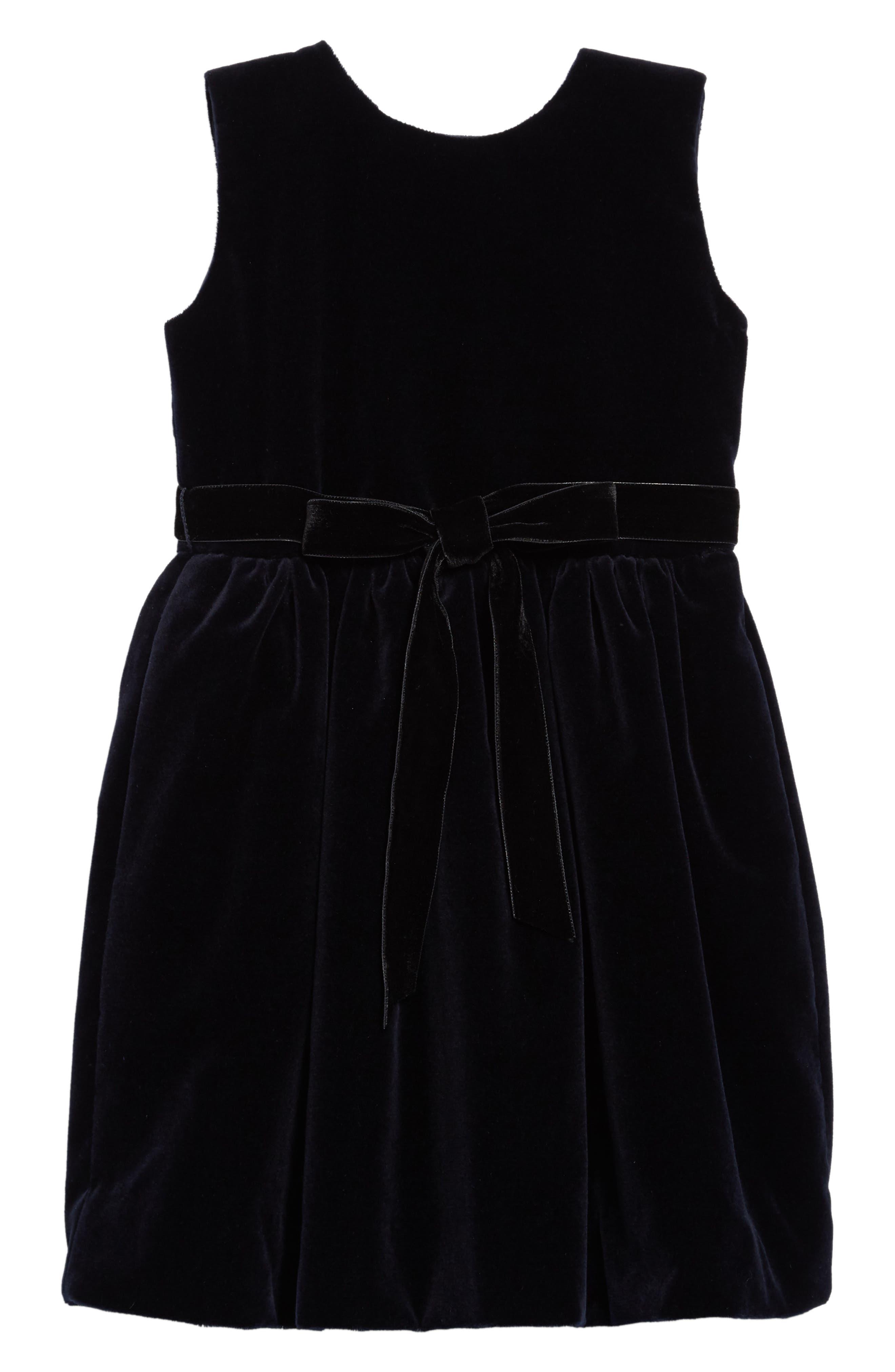 Belted Velvet Dress,                             Main thumbnail 1, color,                             NAVY