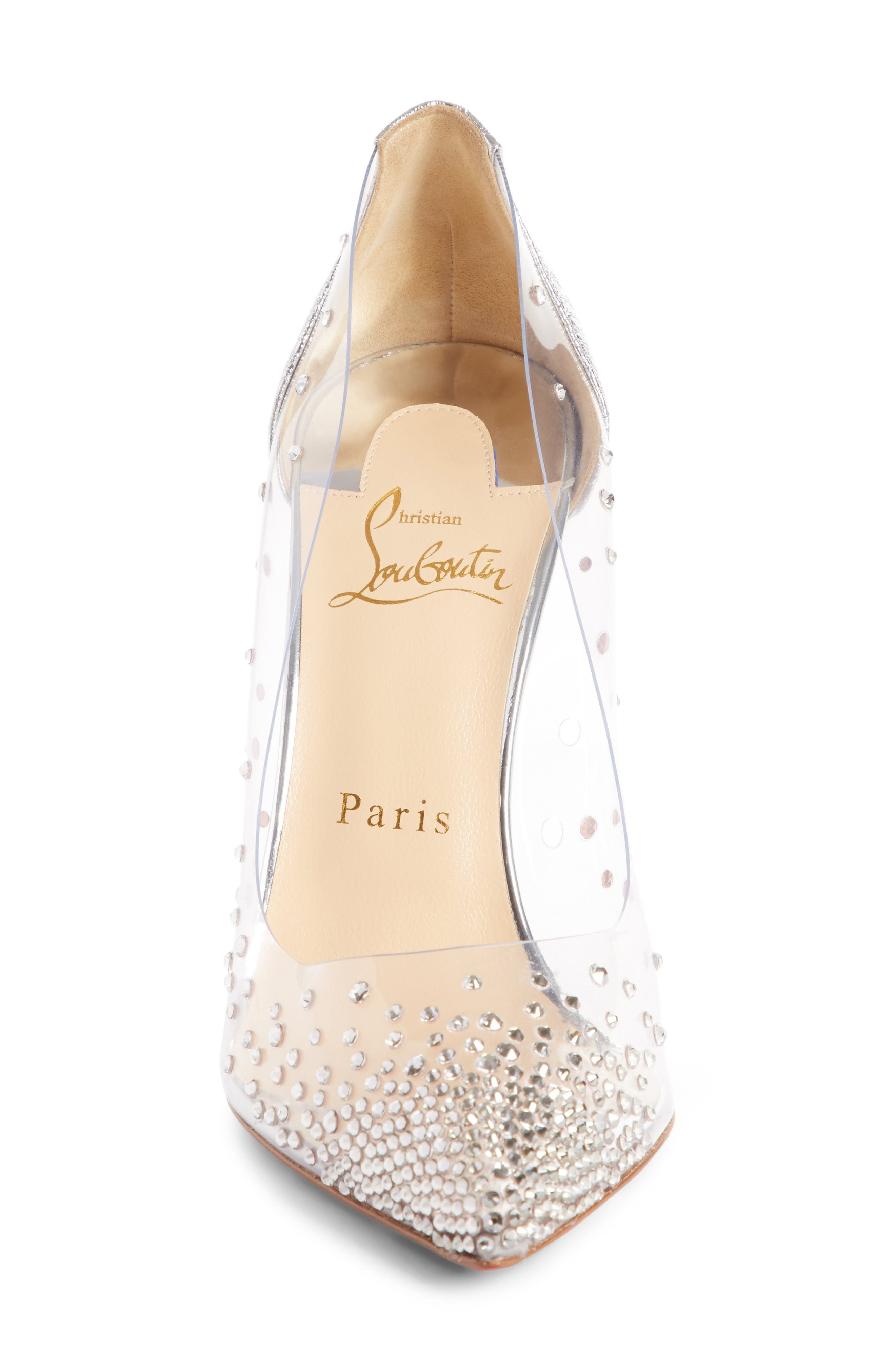 CHRISTIAN LOUBOUTIN,                             Degrastrass Clear Embellished Pump,                             Alternate thumbnail 4, color,                             042