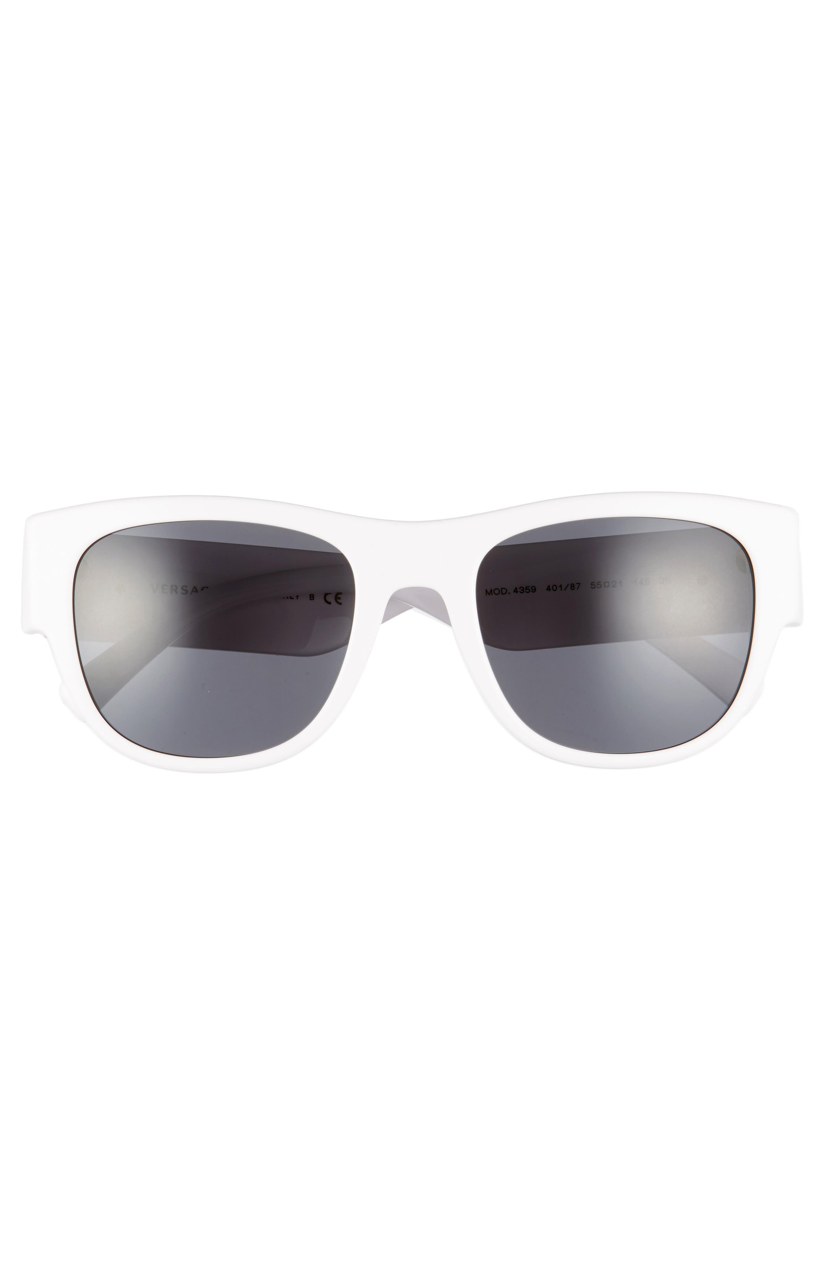 55mm Square Sunglasses,                             Alternate thumbnail 3, color,                             WHITE/ GREY SOLID