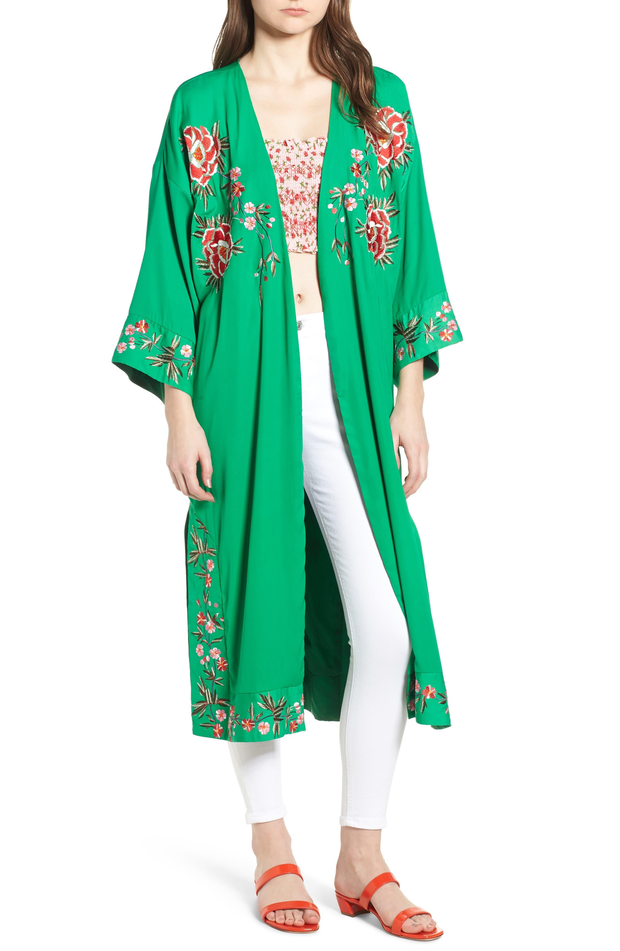 Floral Kimono,                             Main thumbnail 1, color,                             GREEN MULTI