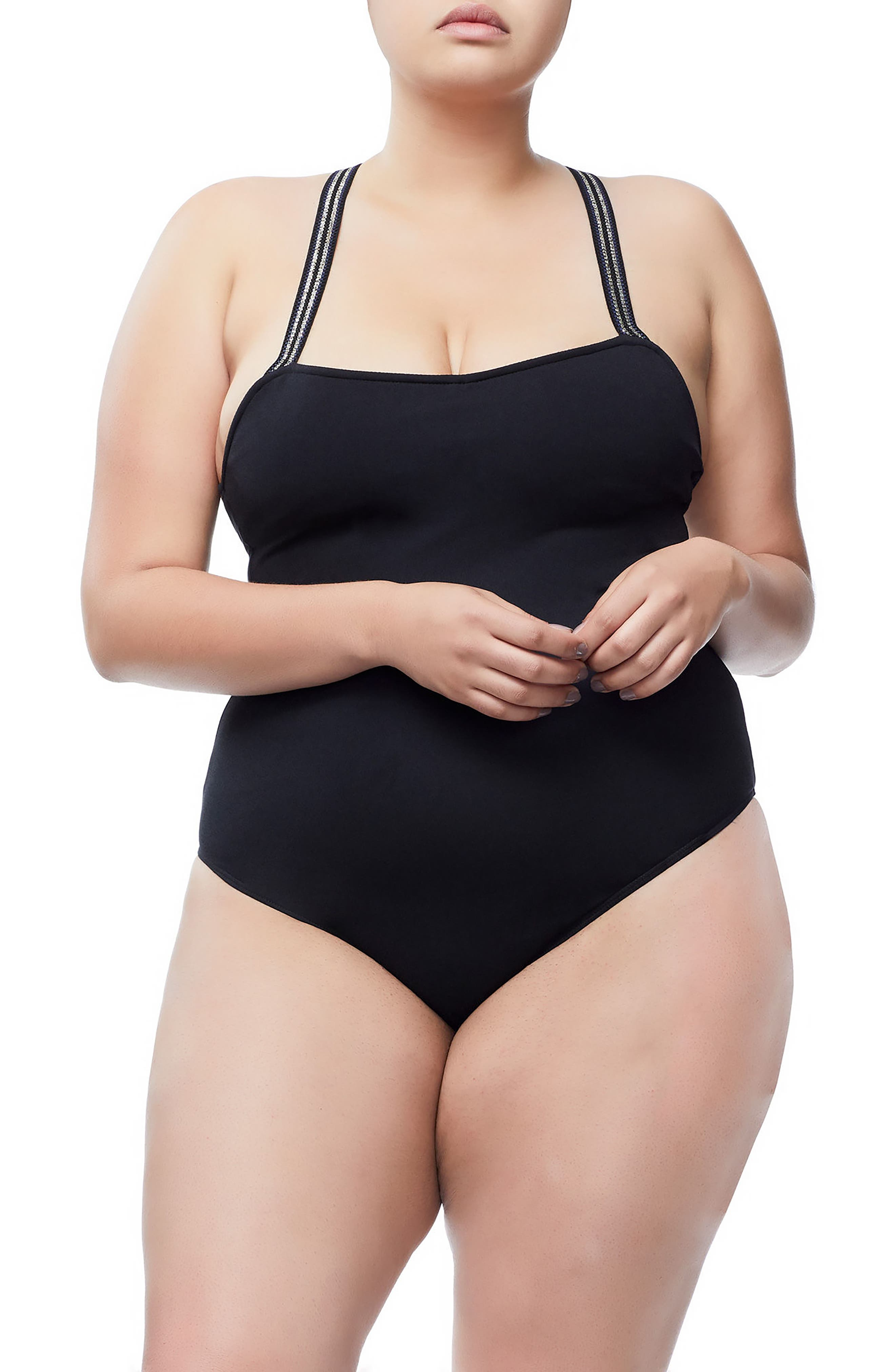 Good Body Cross Back Bodysuit,                             Alternate thumbnail 2, color,                             BLACK