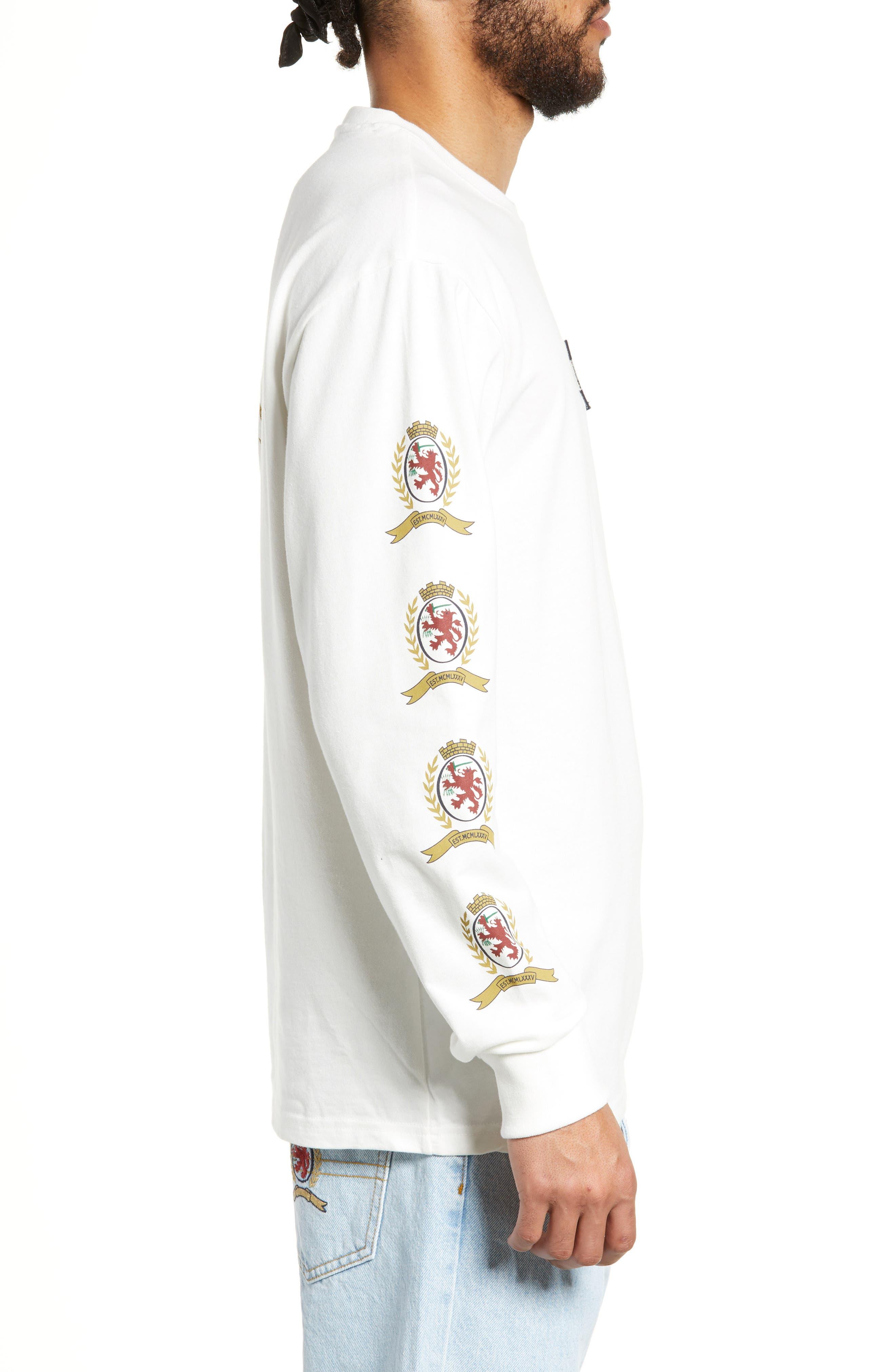 Crest Logo Long Sleeve T-Shirt,                             Alternate thumbnail 3, color,                             CLOUD DANCER