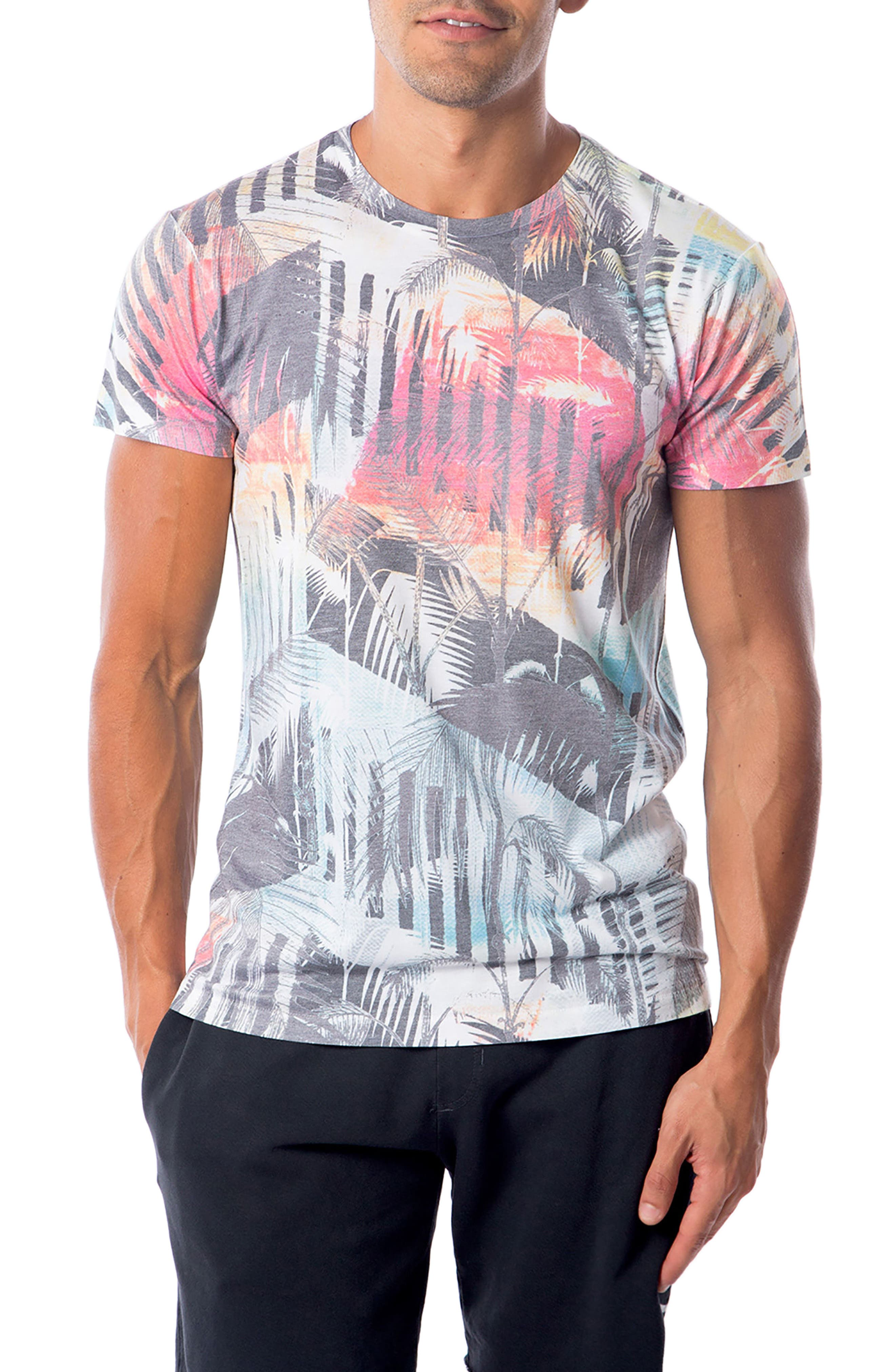 Deco Palms Print T-Shirt,                             Main thumbnail 1, color,                             100