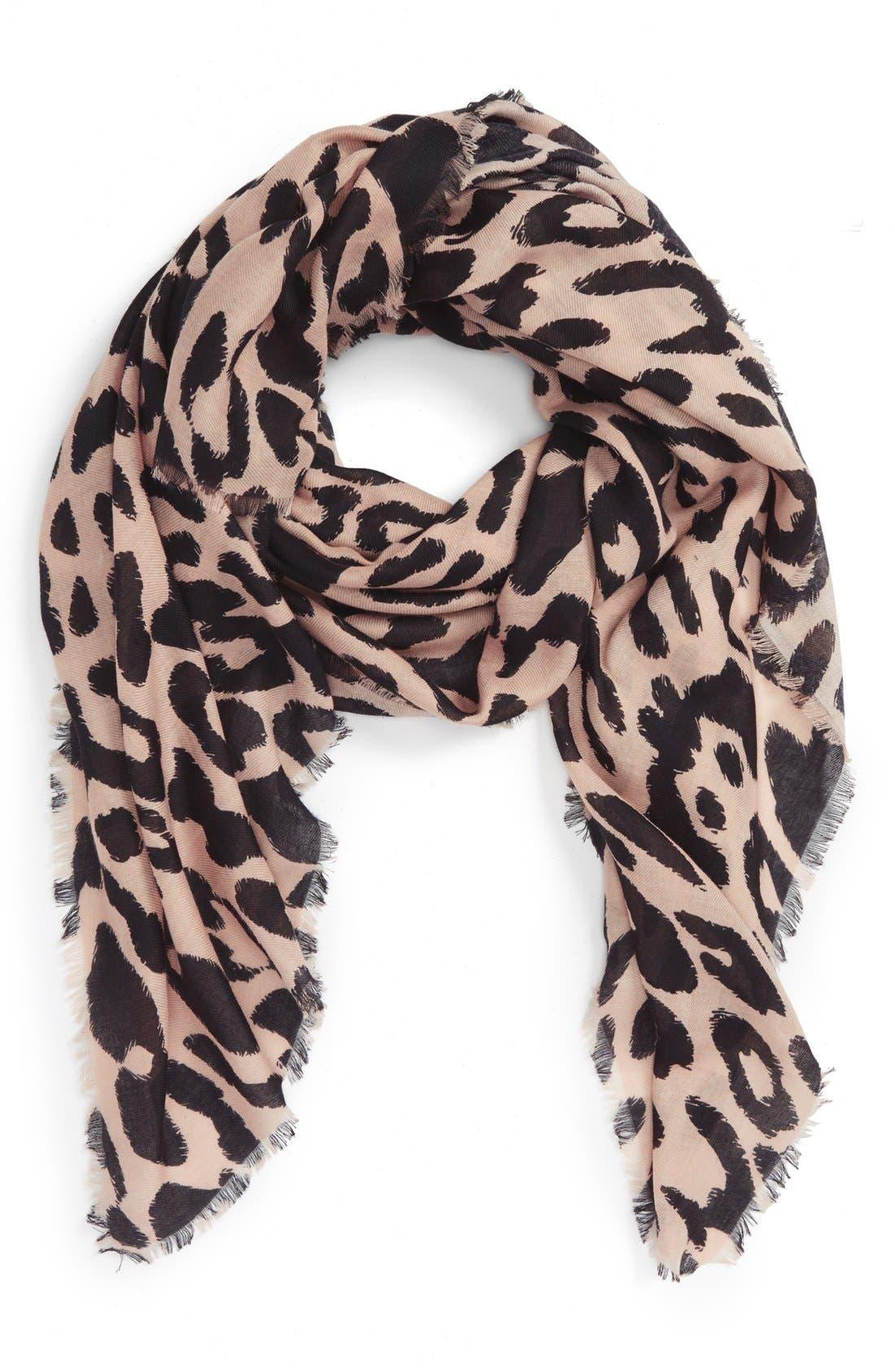 Leopard Print Scarf,                         Main,                         color, TAN MULTI