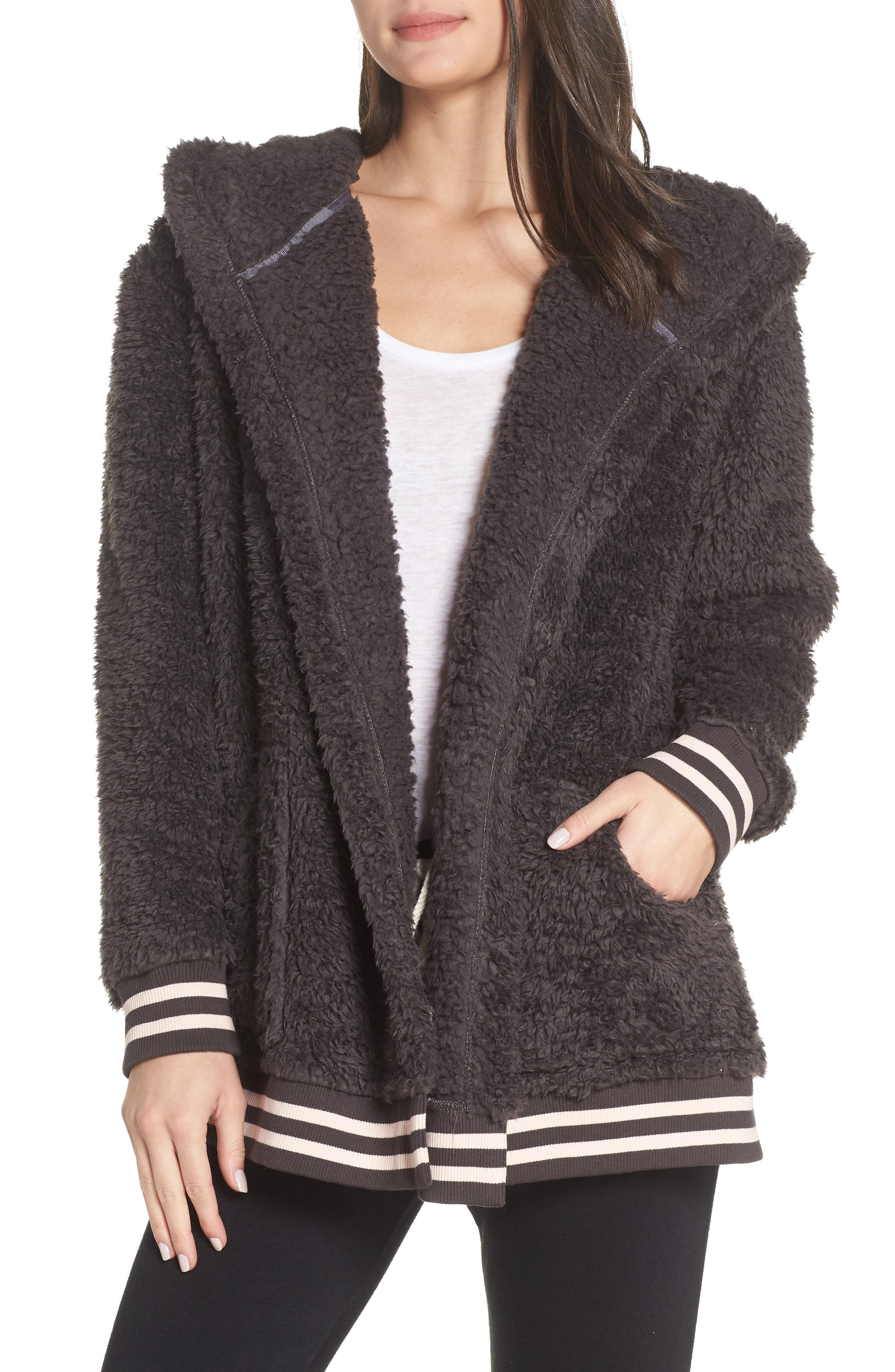 Oh So Cozy Open Hoodie,                         Main,                         color, GREY PAVEMENT