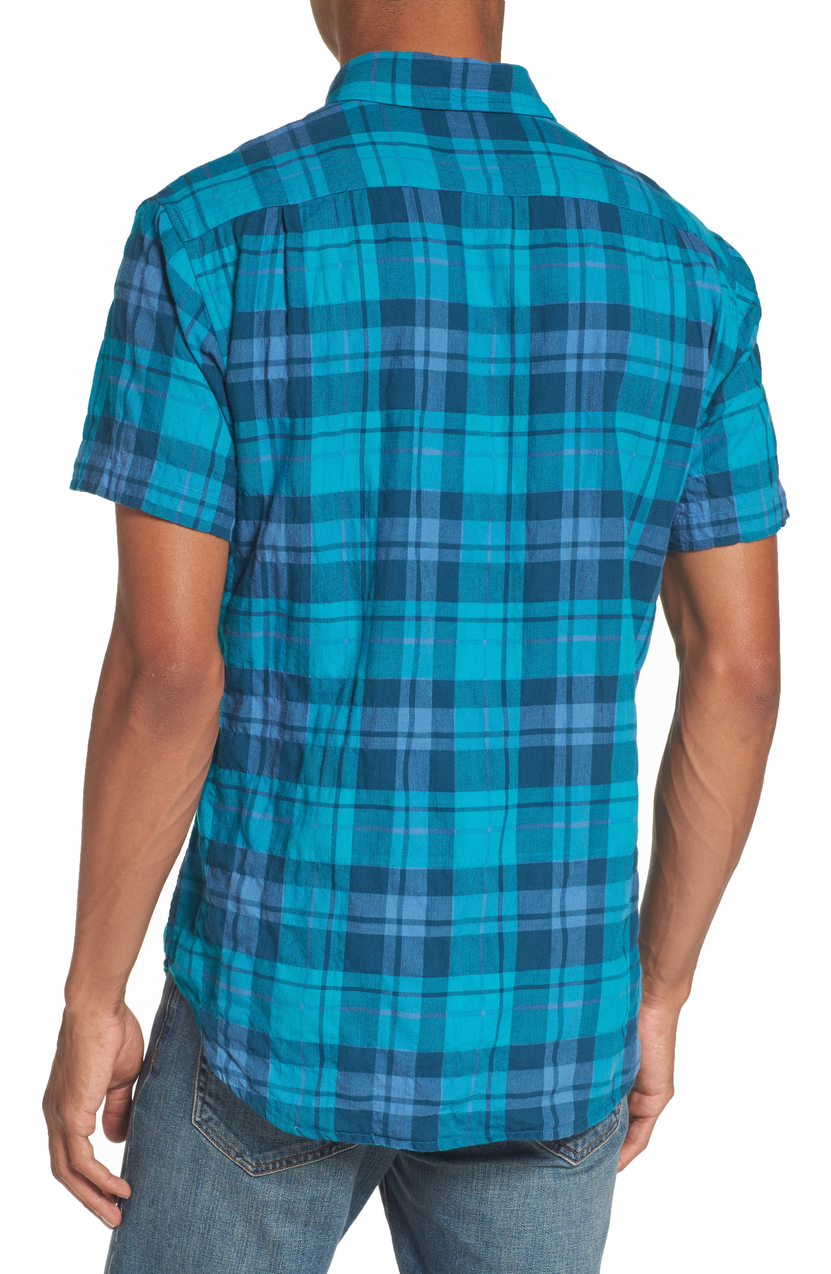 Riveria Slim Fit Check Woven Shirt,                             Alternate thumbnail 2, color,