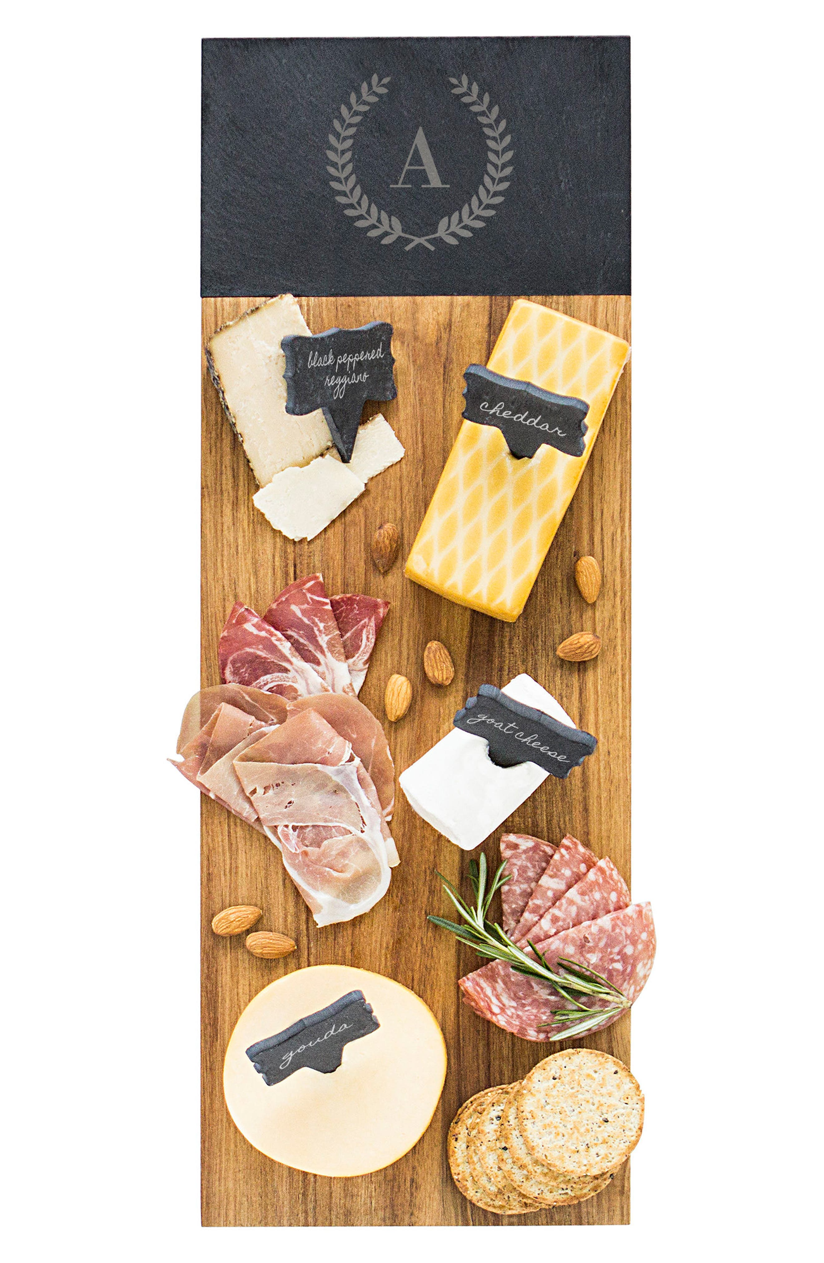 Monogram Acacia Wood Cheese Board,                             Main thumbnail 1, color,                             A