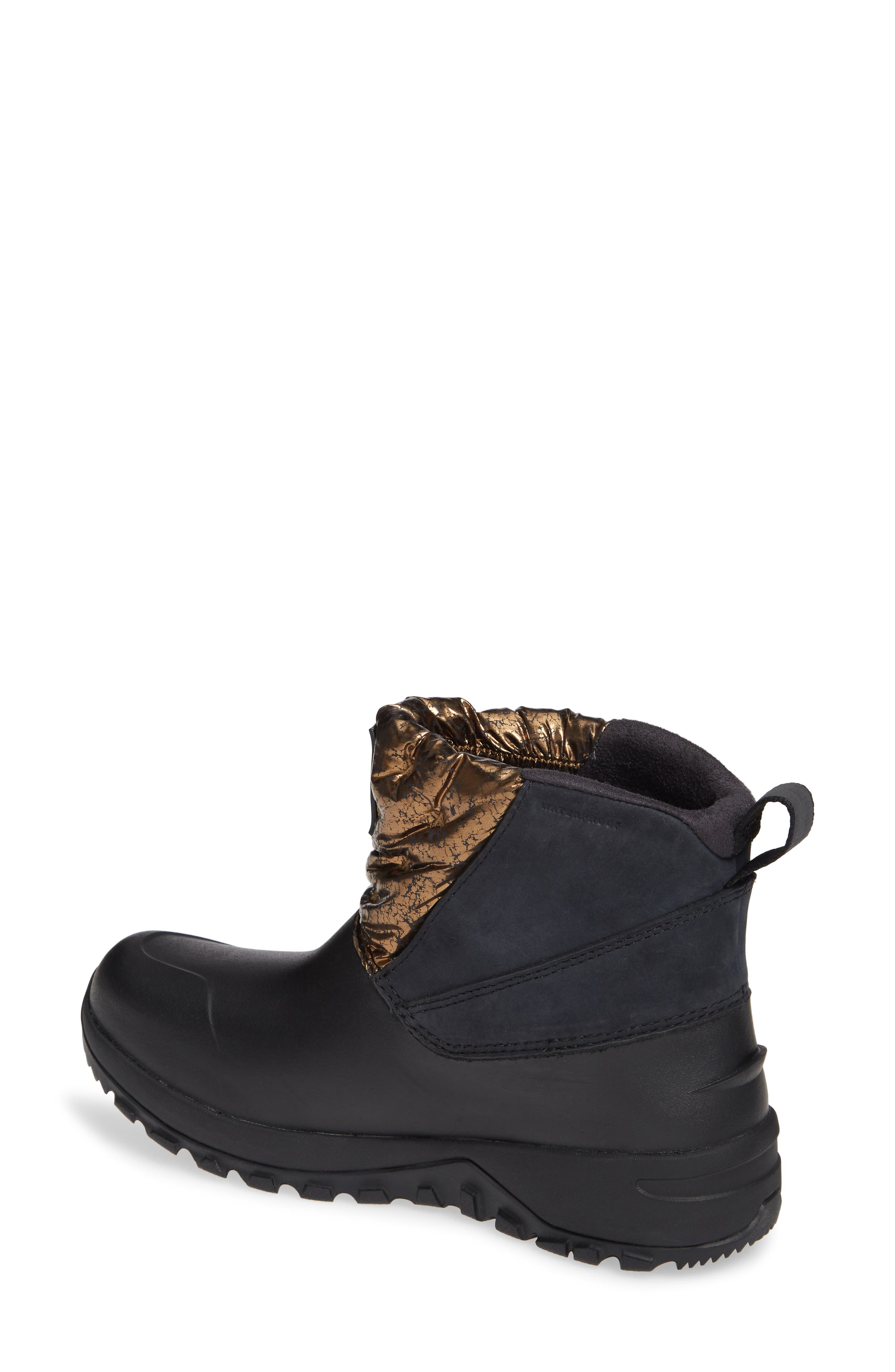 Yukiona Waterproof Ankle Boot,                             Alternate thumbnail 2, color,                             BLACK/ METALLIC COPPER