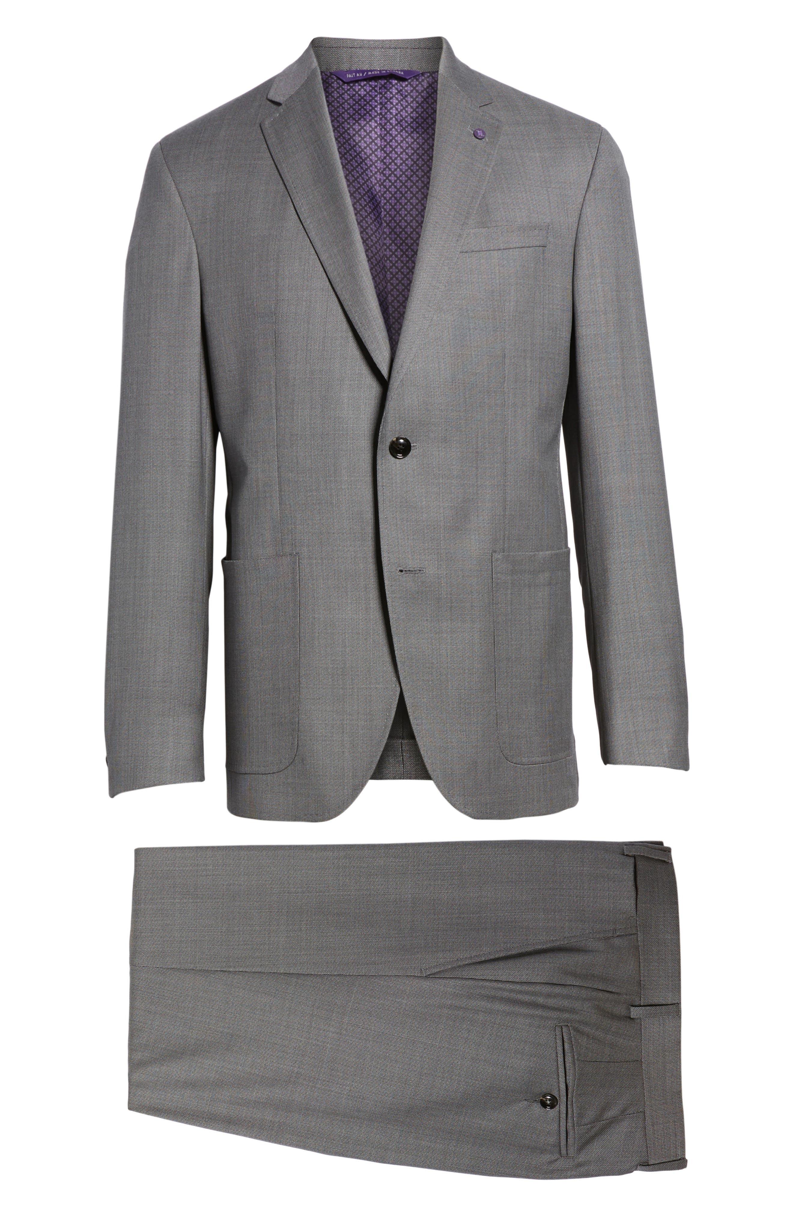 Kyle Trim Fit Solid Wool Suit,                             Alternate thumbnail 8, color,                             020