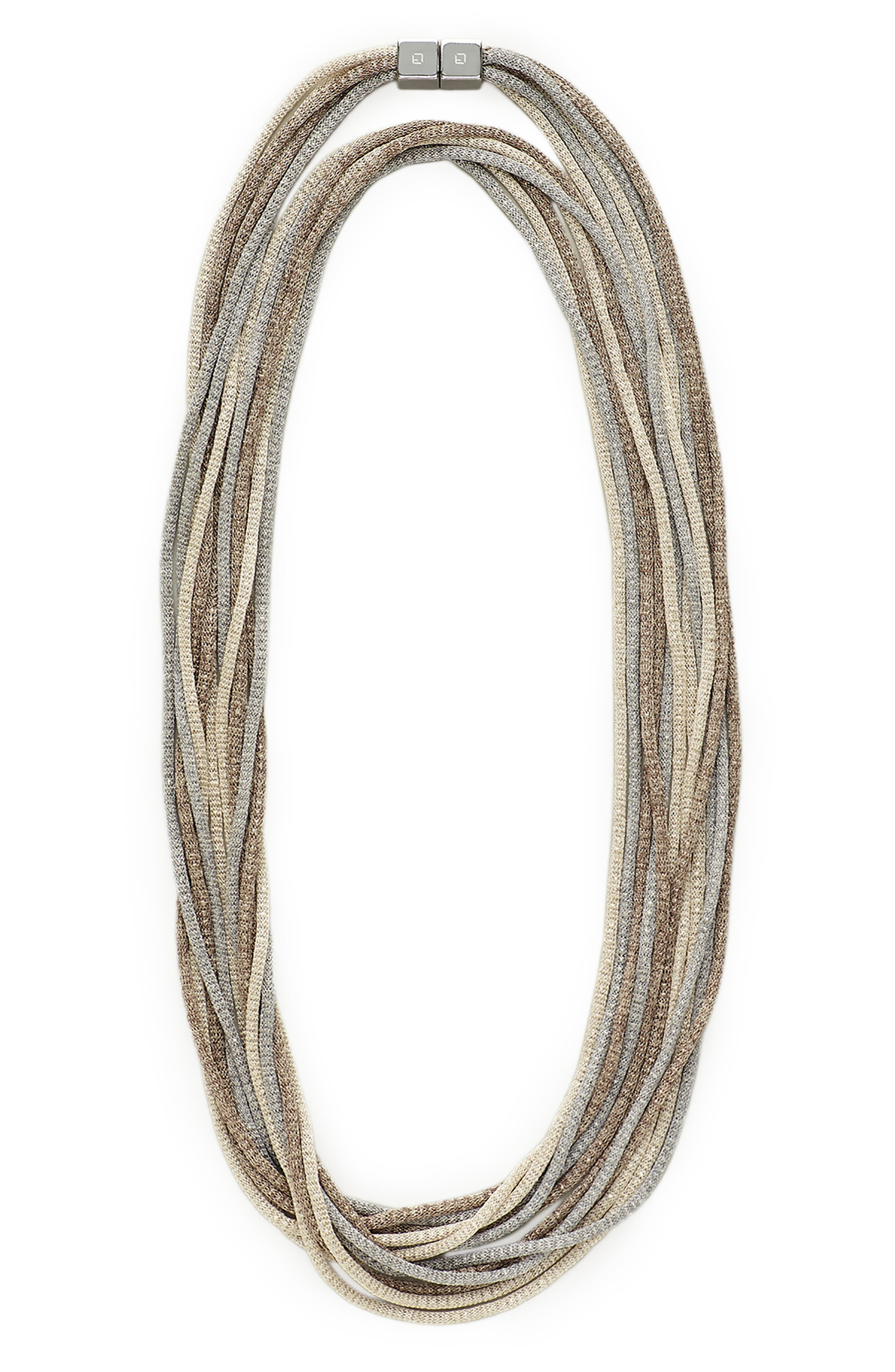 Mesh Chain Multistrand Necklace,                             Main thumbnail 1, color,                             NICKEL MULTI