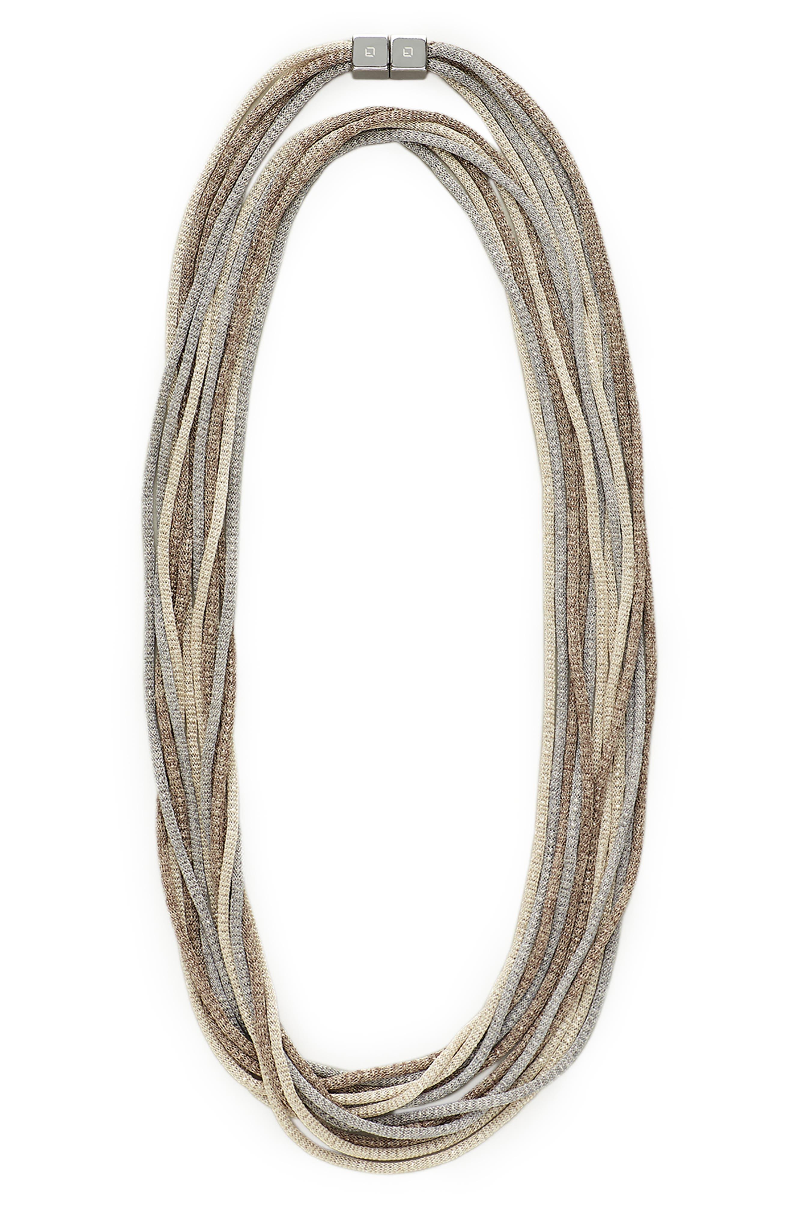 Mesh Chain Multistrand Necklace,                         Main,                         color, NICKEL MULTI