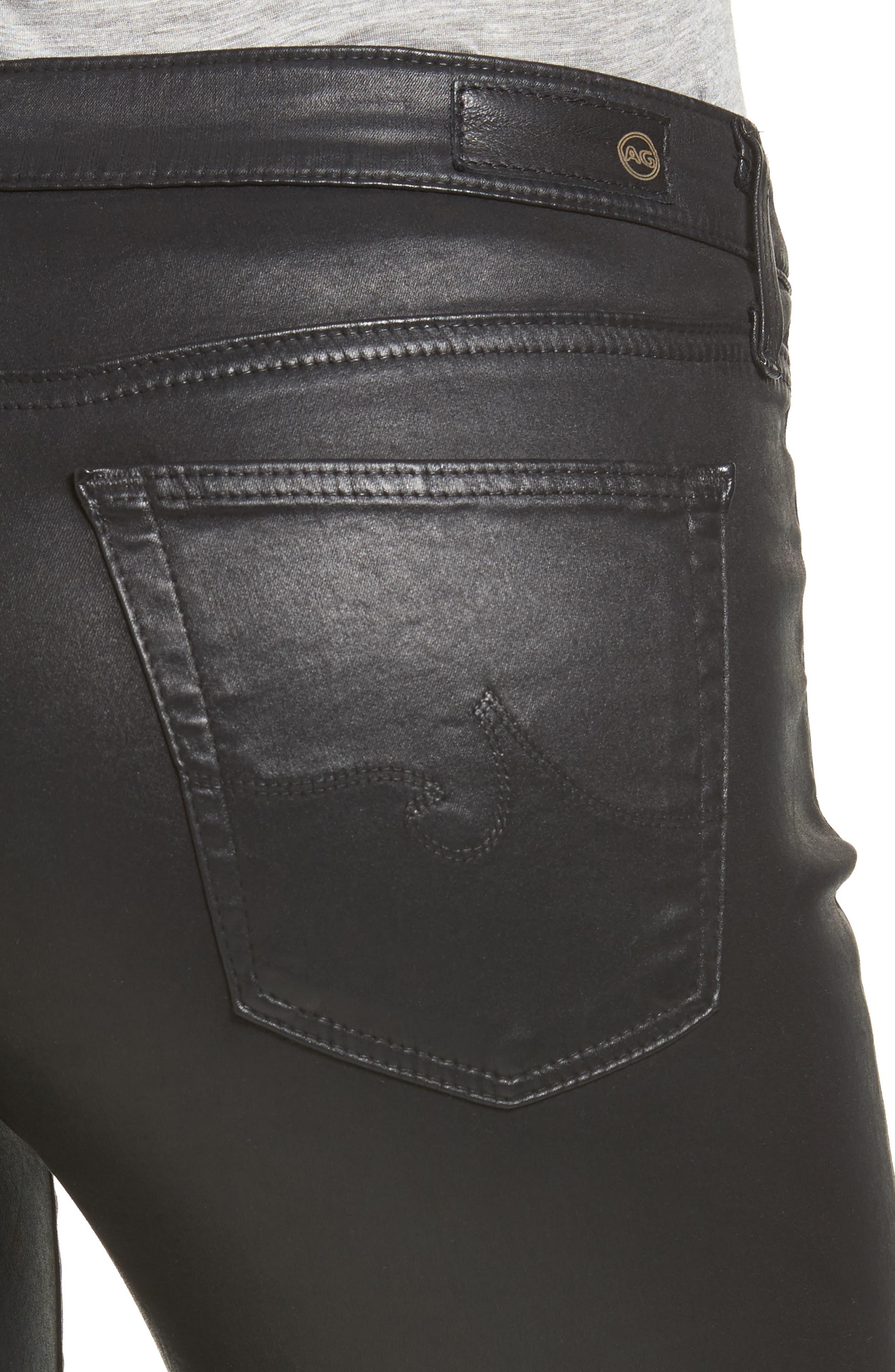 The Legging Ankle Jeans,                             Alternate thumbnail 4, color,                             LEATHERETTE SUPER BLACK