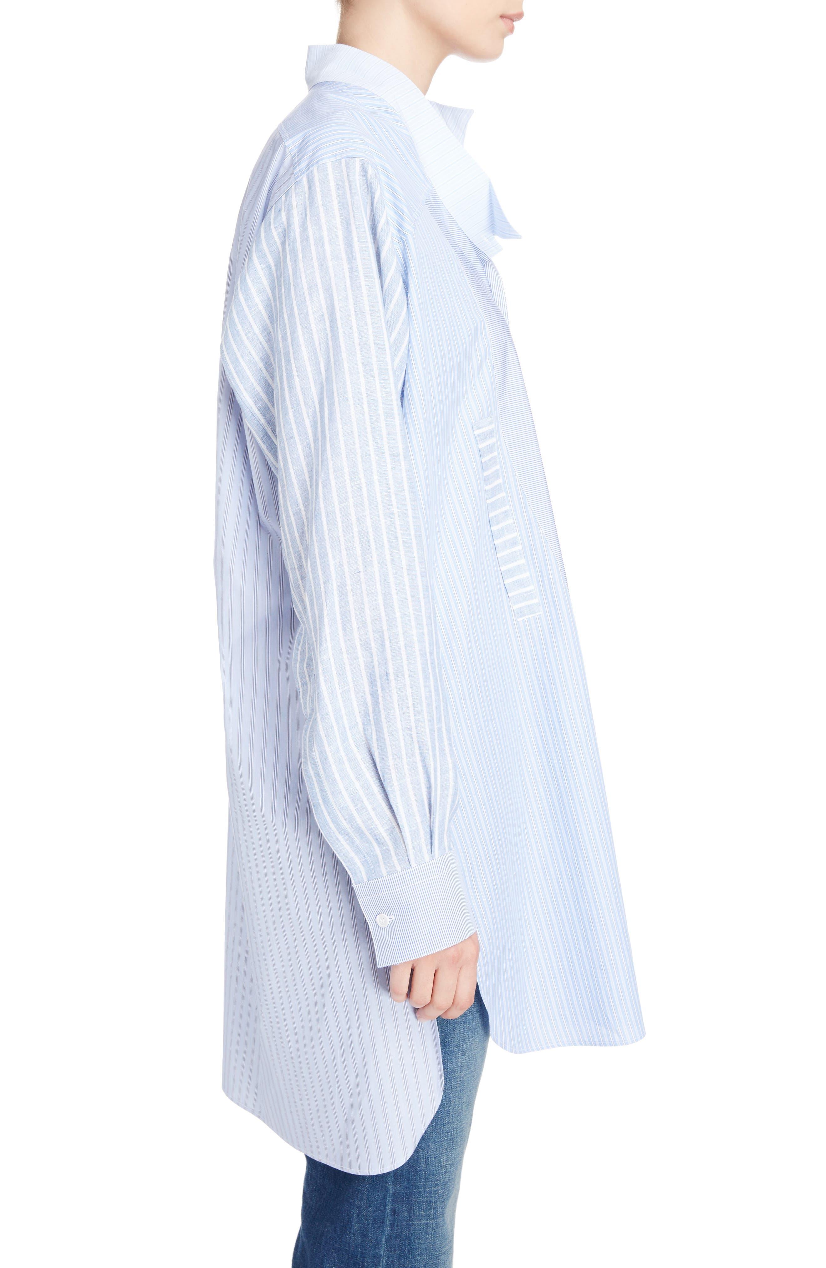 Patchwork Cotton & Linen Shirt,                             Alternate thumbnail 3, color,                             469