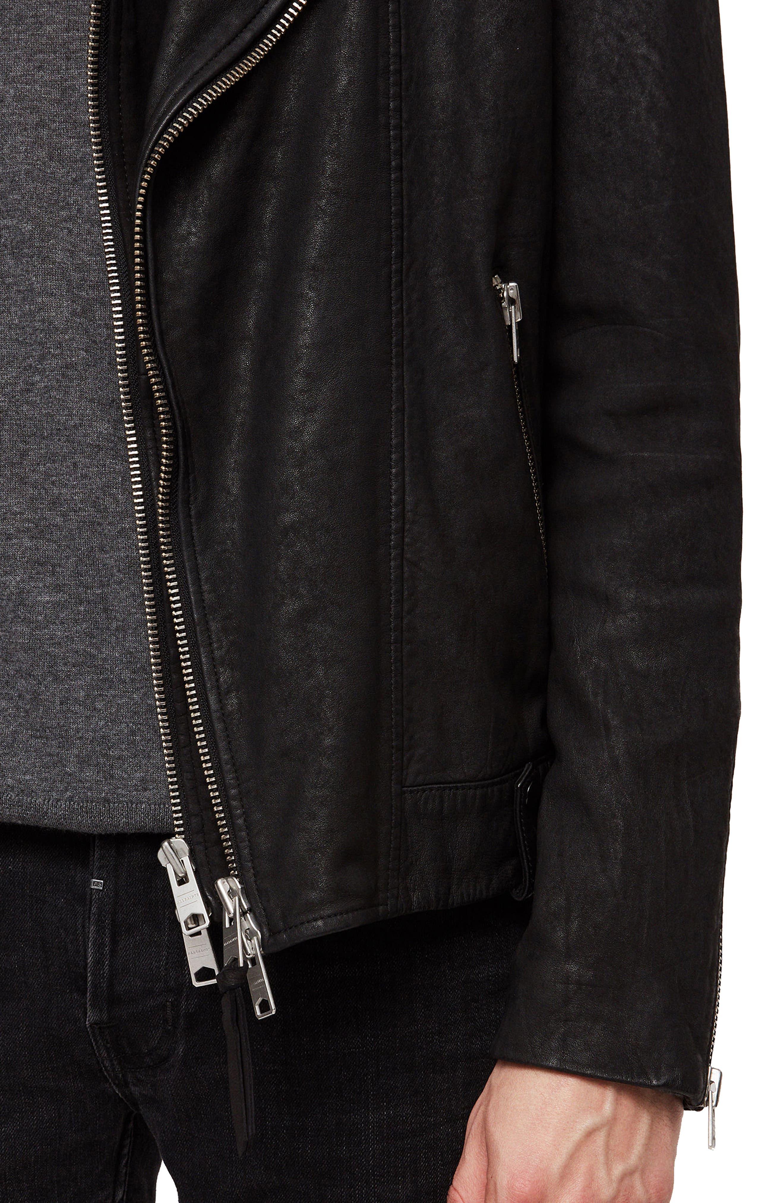 Hanoi Regular Fit Genuine Lambskin Shearling Trim Leather Biker Jacket,                             Alternate thumbnail 5, color,                             001