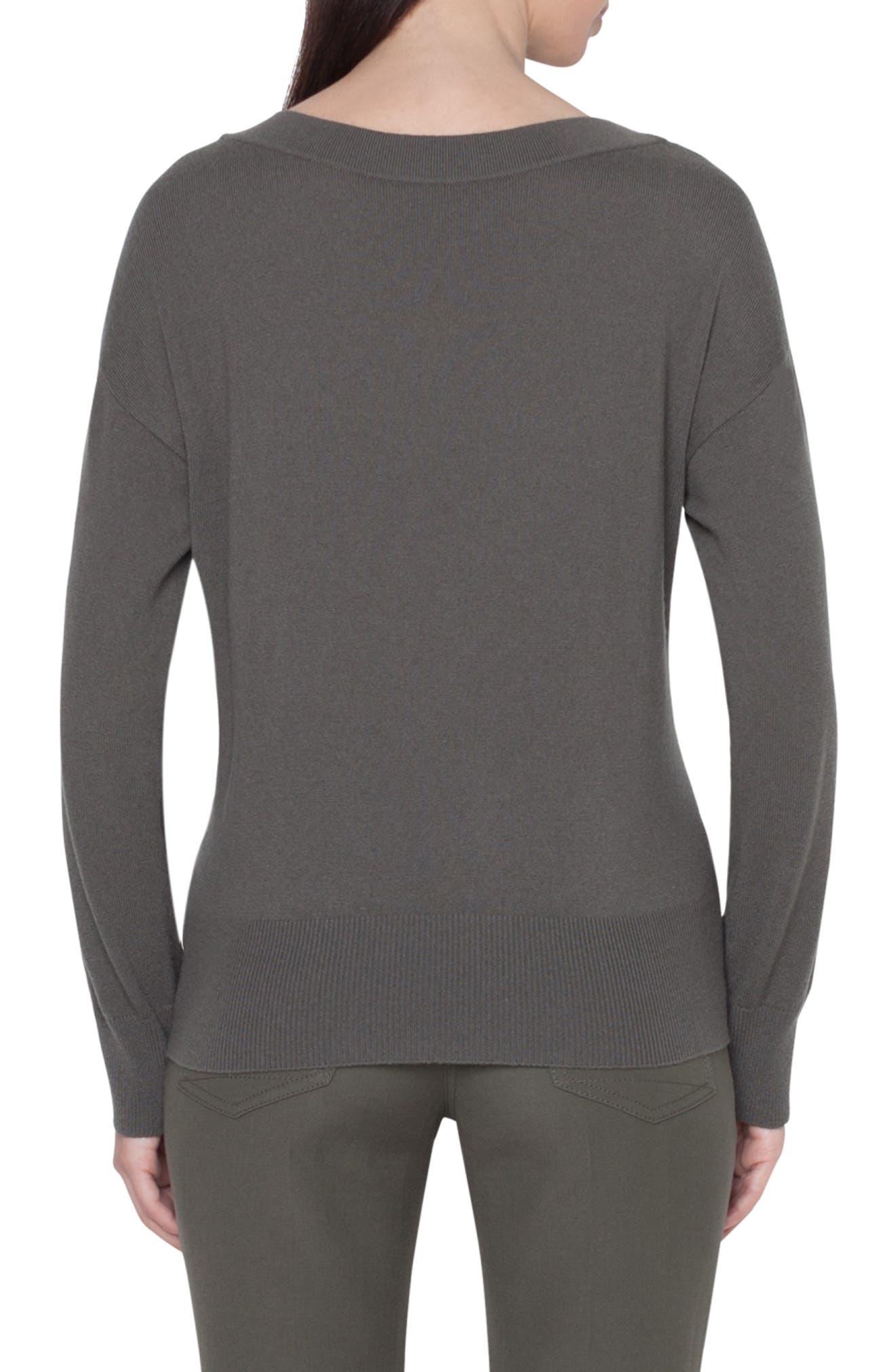 Zip Detail Cashmere Sweater,                             Alternate thumbnail 2, color,                             MAGNET