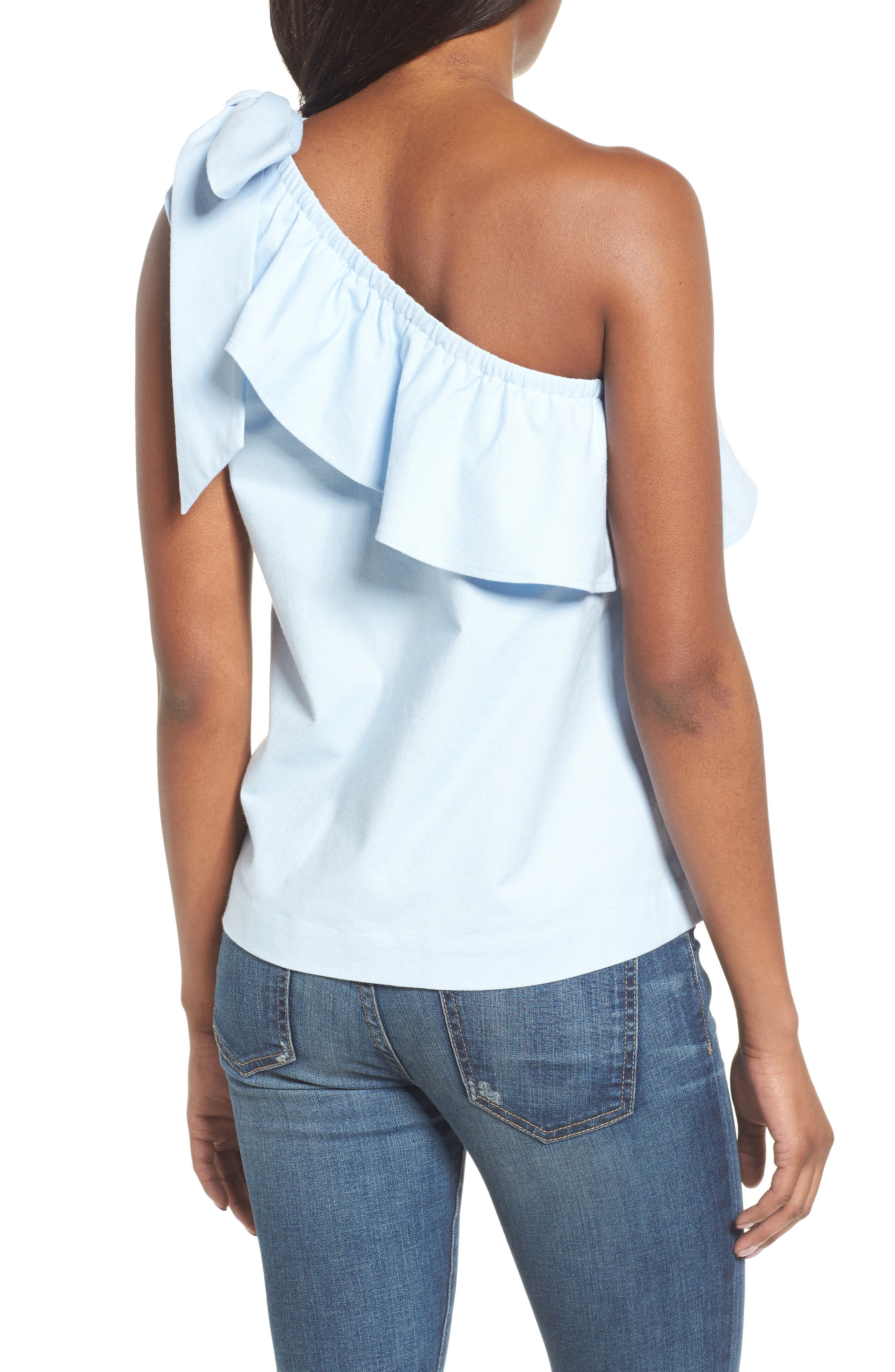 One-Shoulder Bow Top,                             Alternate thumbnail 2, color,