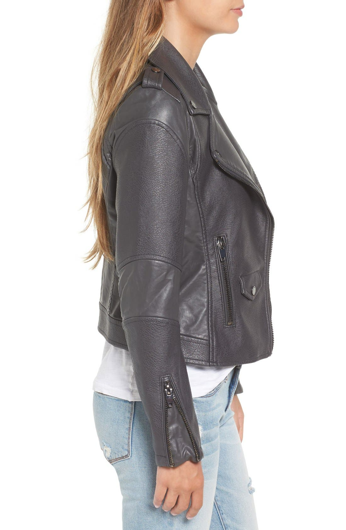 'Easy Rider' Faux Leather Moto Jacket,                             Alternate thumbnail 15, color,