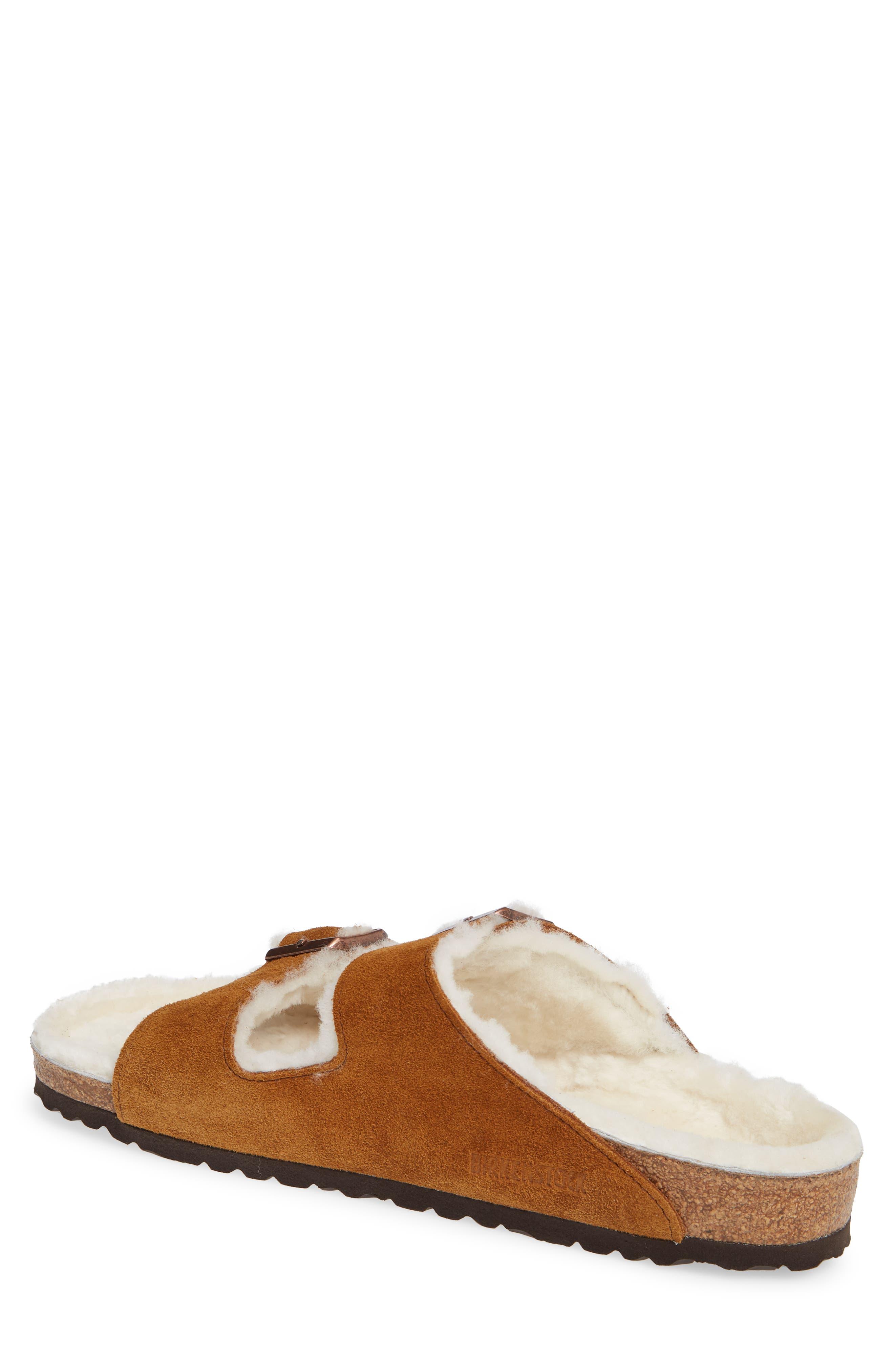 Arizona Slide Sandal with Genuine Shearling,                             Alternate thumbnail 2, color,                             BEIGE
