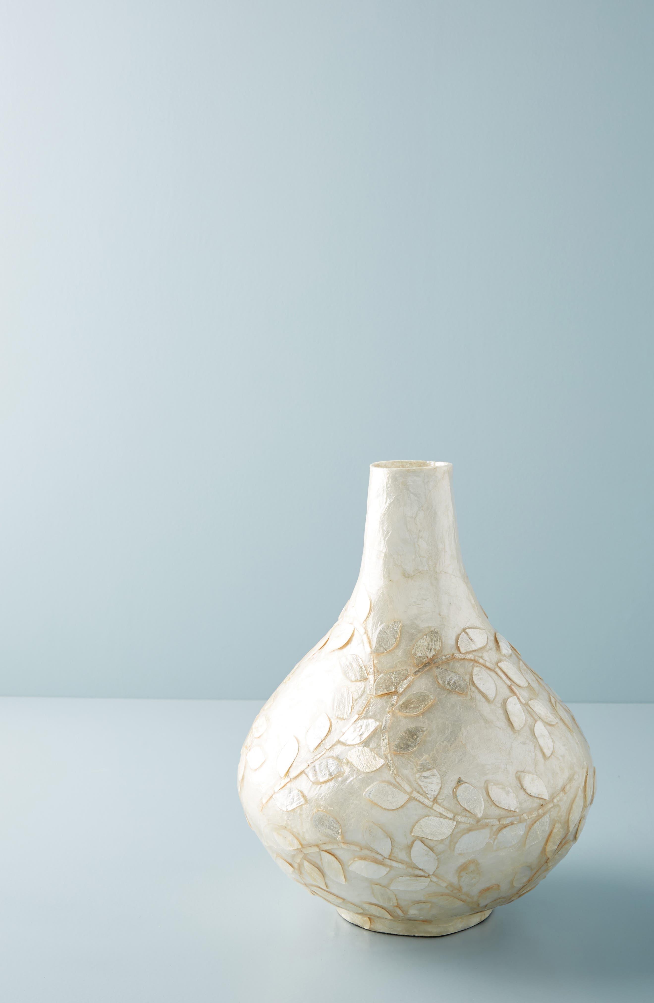 Floral Capiz Vase,                             Main thumbnail 1, color,                             WHITE - SMALL