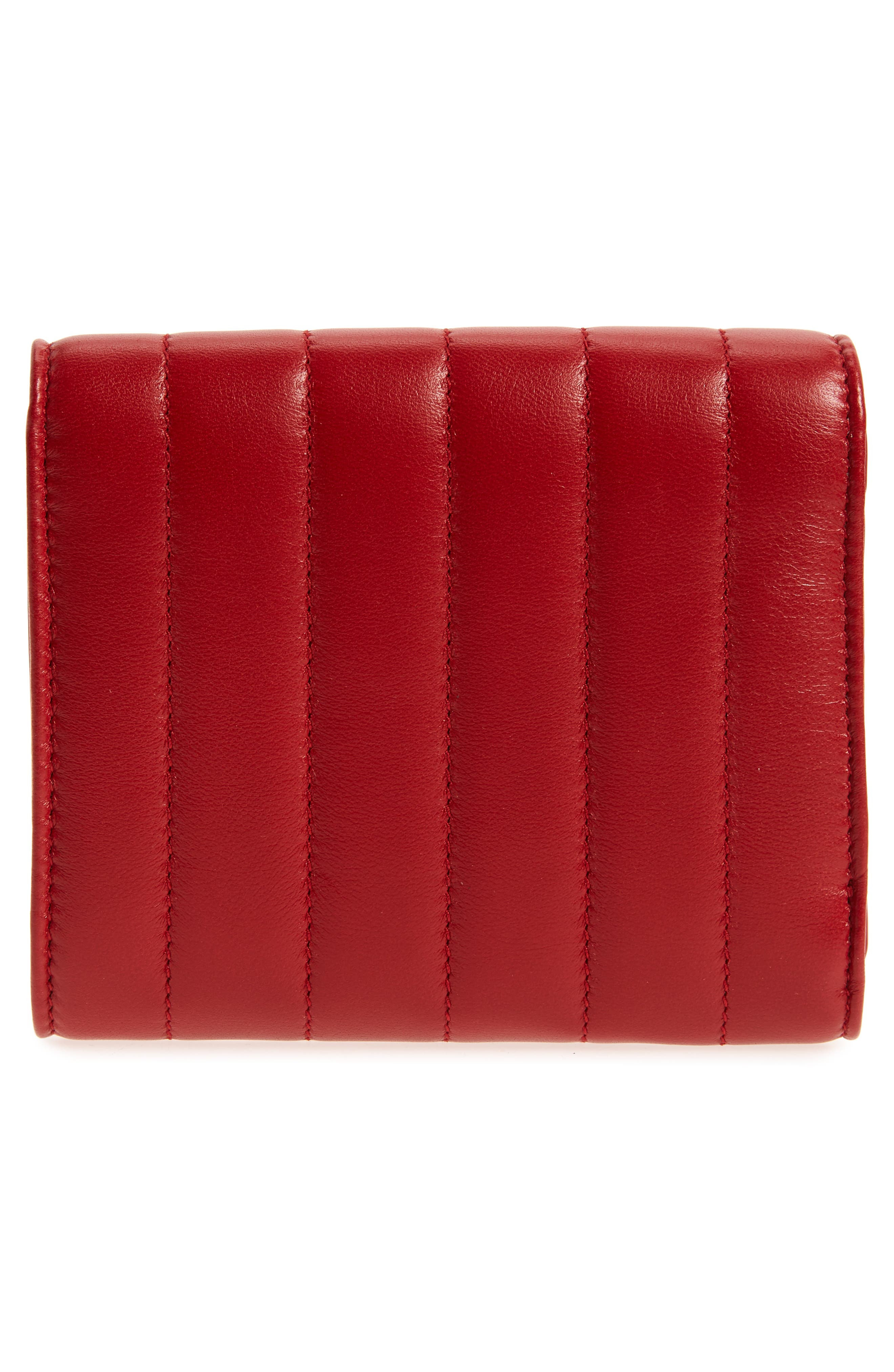 Vicky Lambskin Leather Trifold Wallet,                             Alternate thumbnail 4, color,                             ROUGE EROS