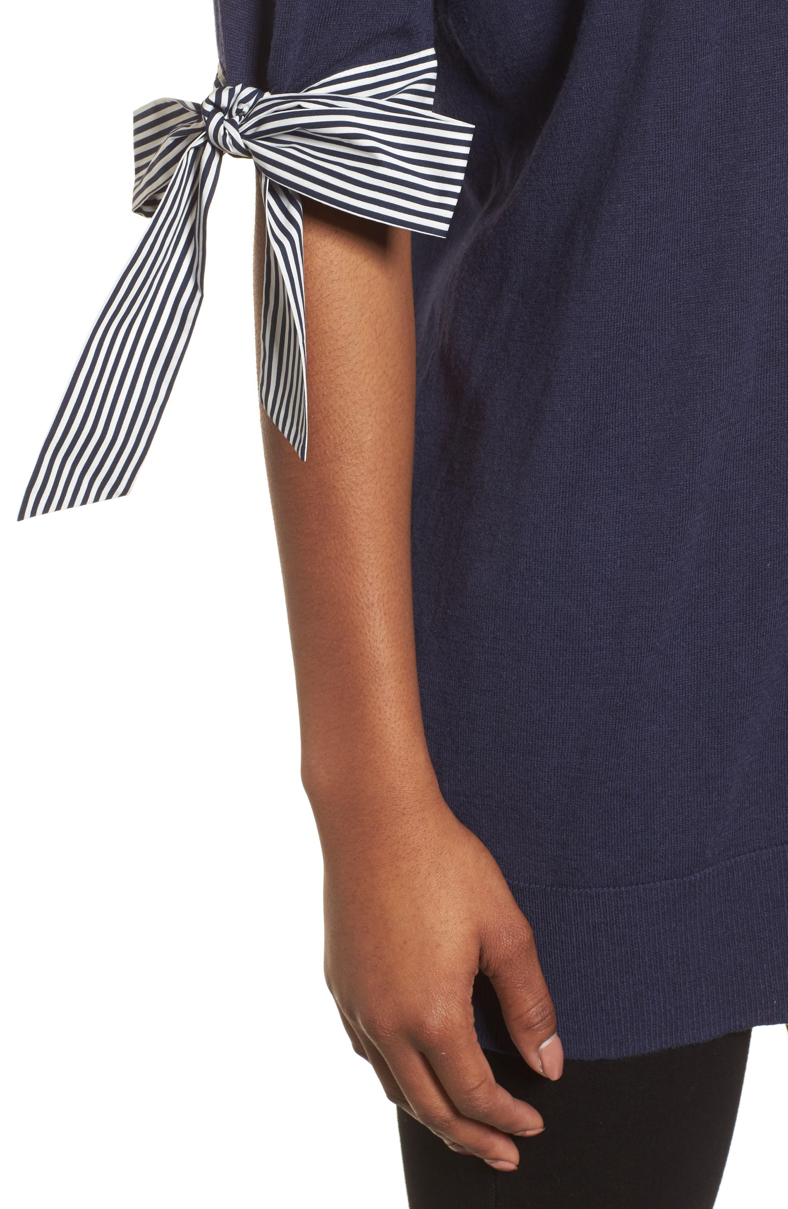 Poplin Bow Detail Sweater,                             Alternate thumbnail 8, color,
