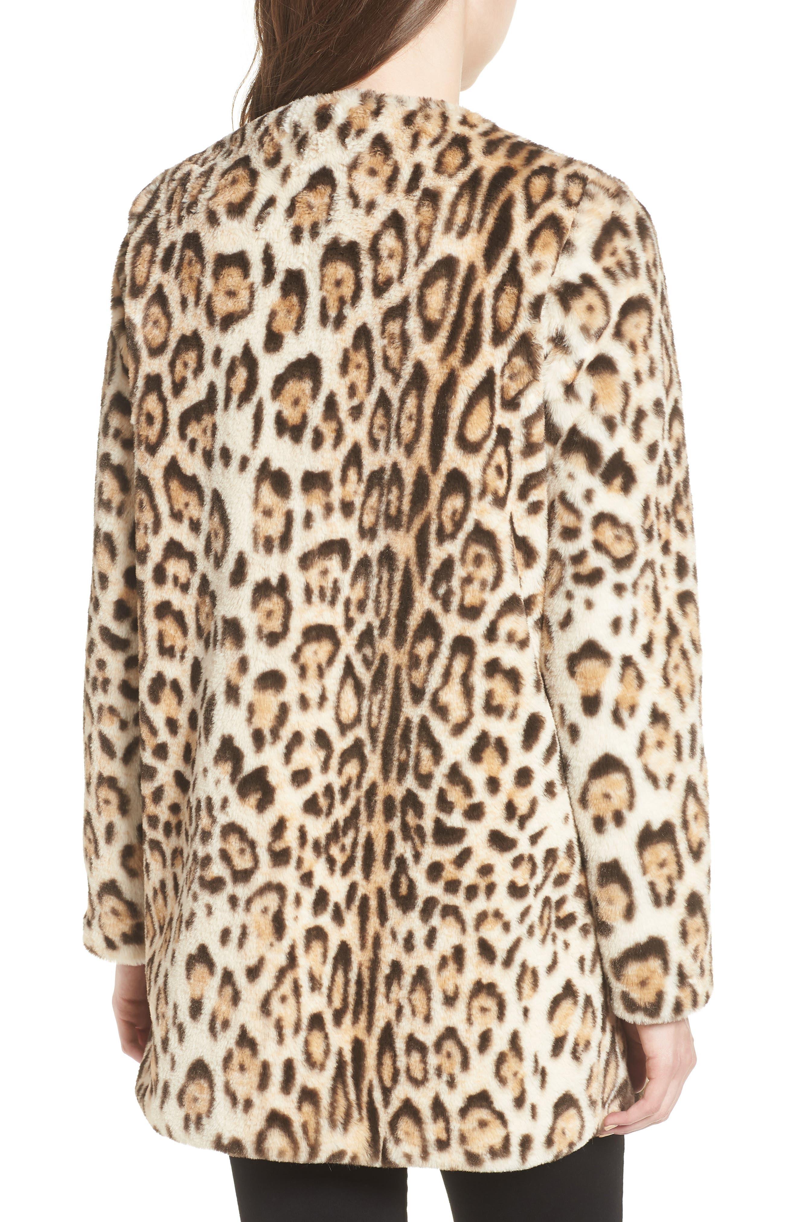 Leopard Faux Fur Jacket,                             Alternate thumbnail 2, color,                             210