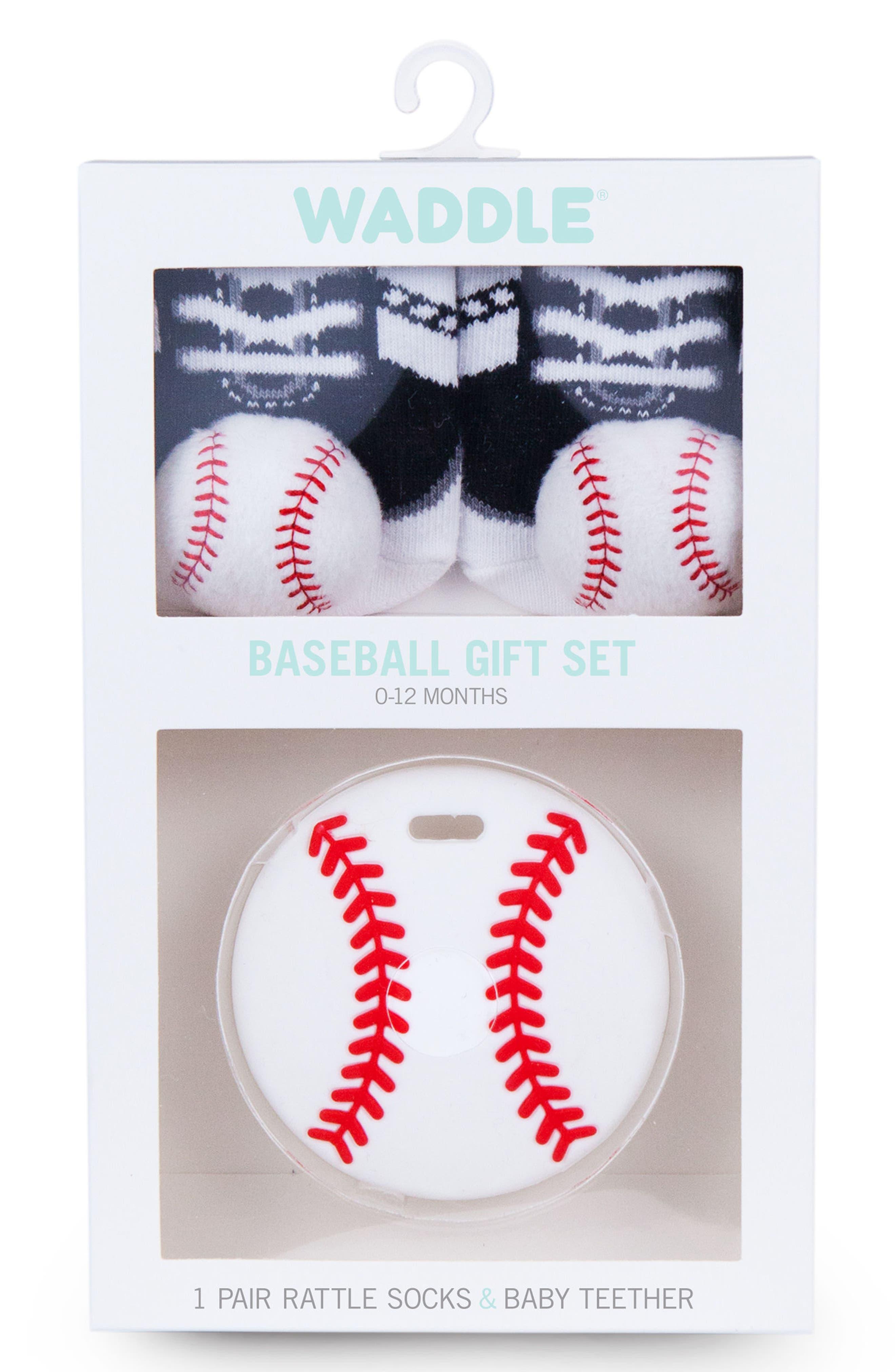 Baseball Rattle Socks & Teether Gift Set,                             Alternate thumbnail 2, color,                             WHITE