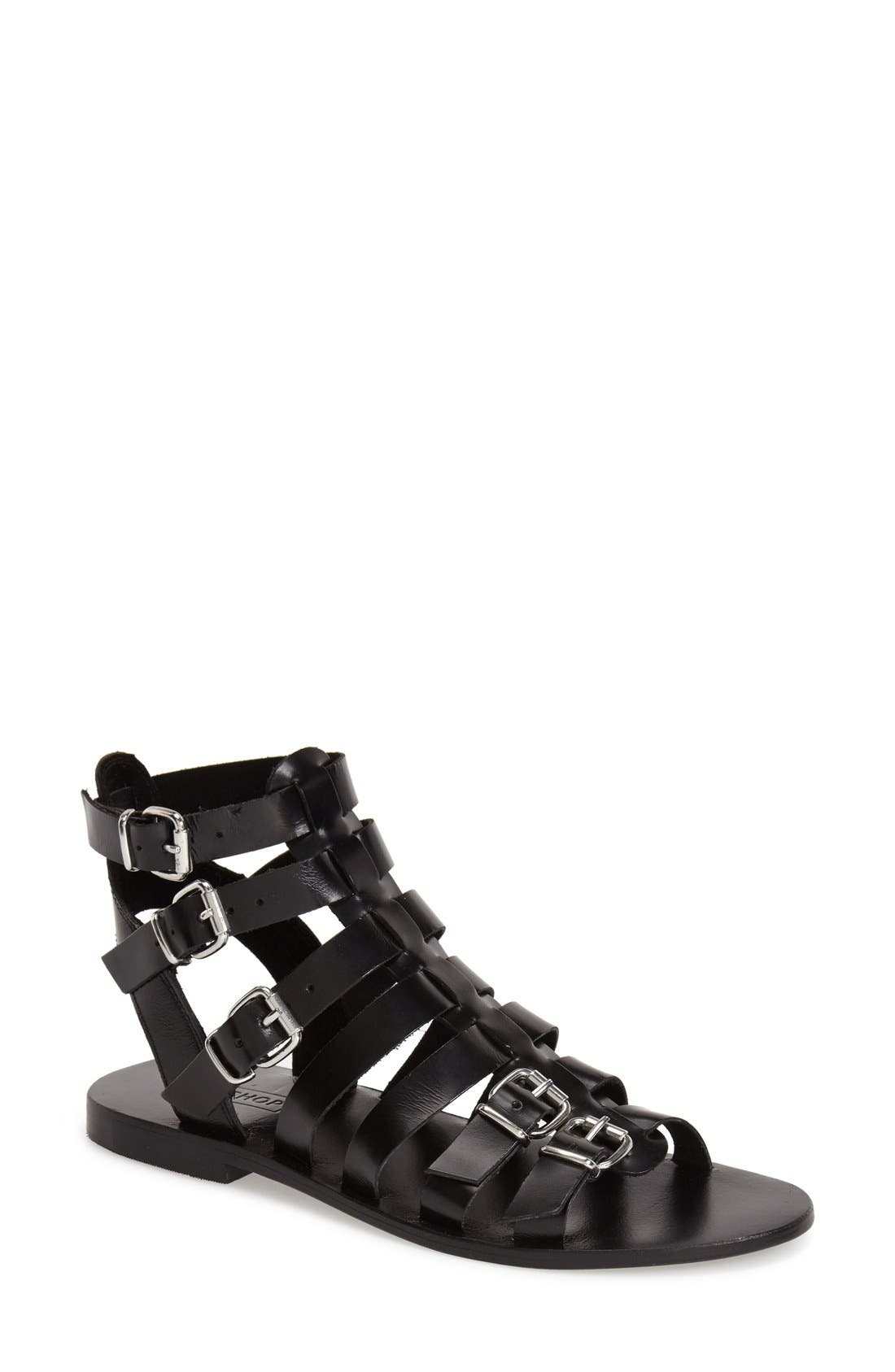 'Favorite' Flat Gladiator Sandal,                         Main,                         color, 001