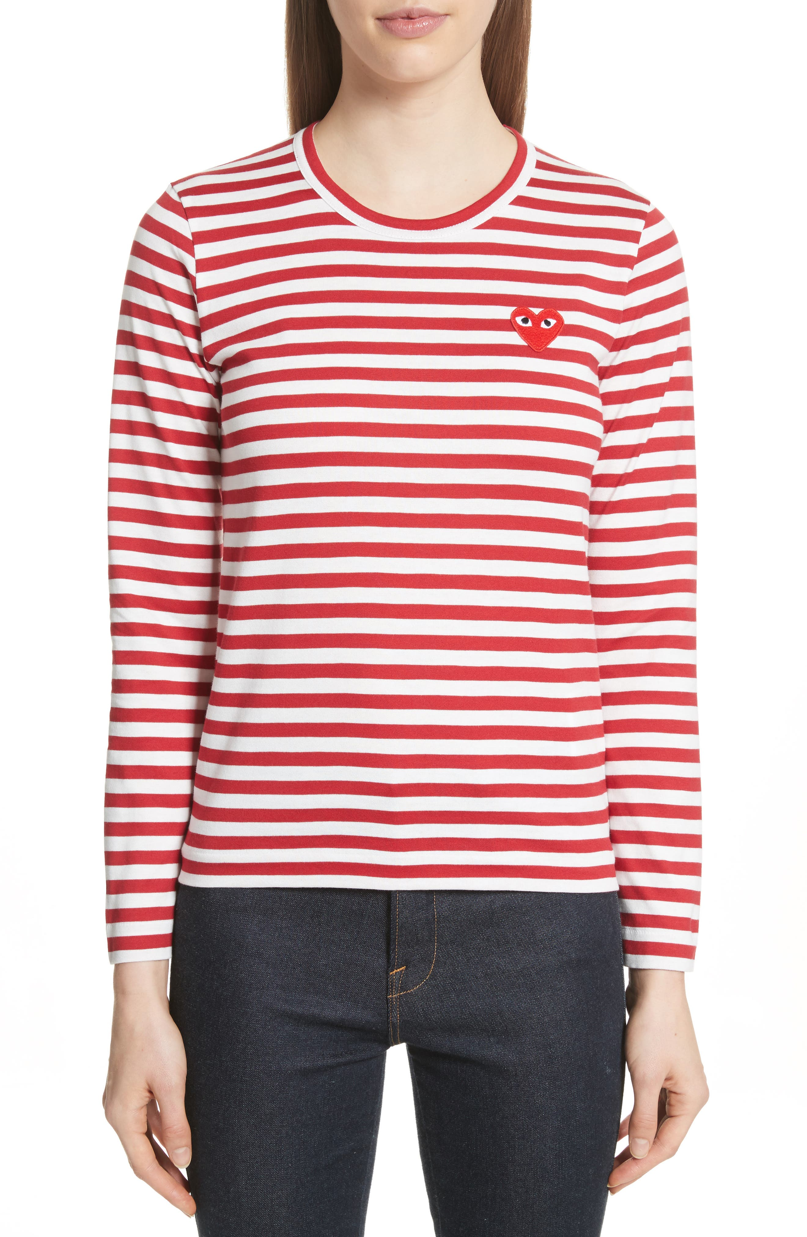Stripe Cotton Tee,                             Main thumbnail 1, color,                             RED/ WHITE