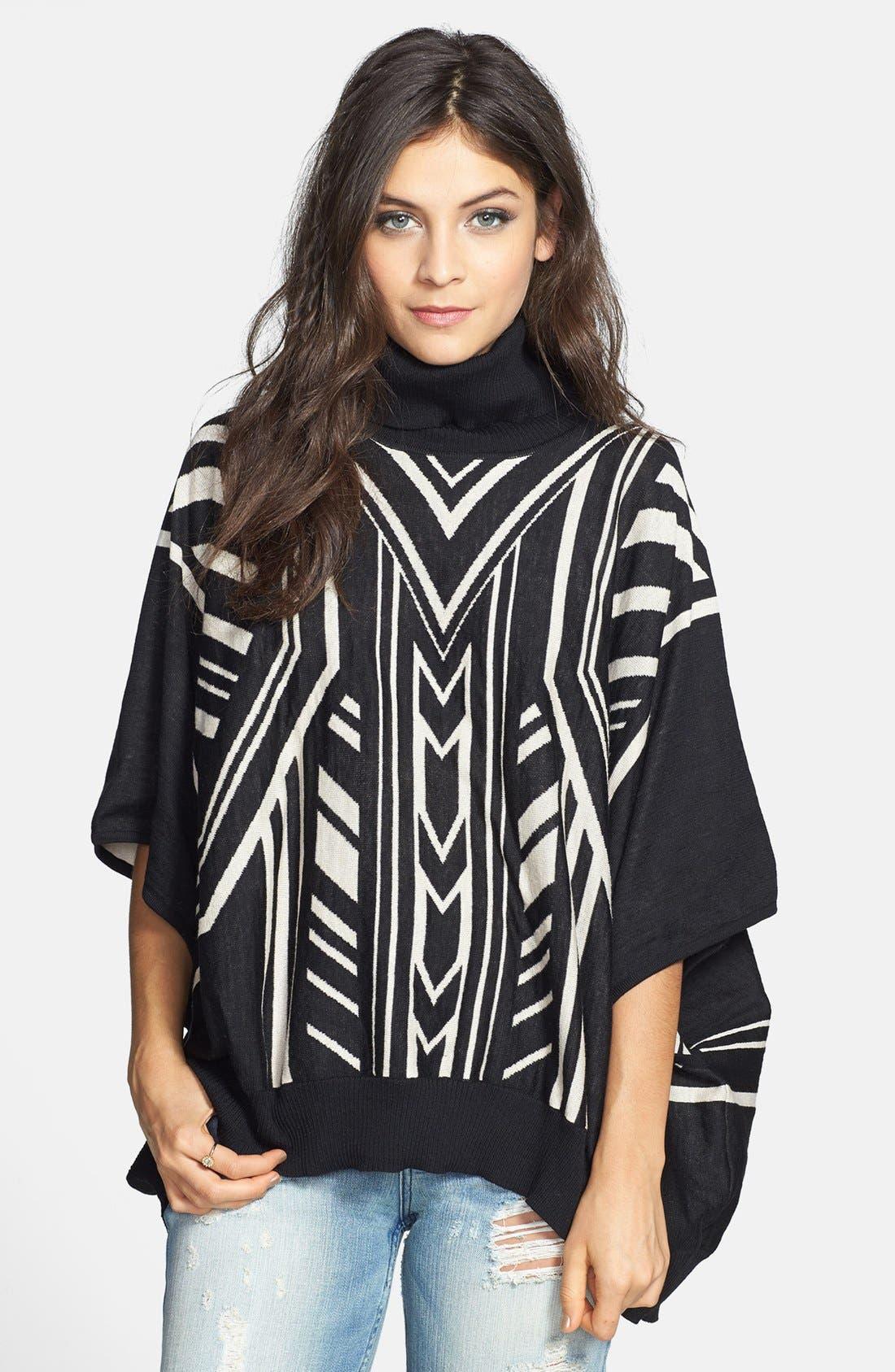 JEALOUS TOMATO Knit Poncho Sweater, Main, color, 001