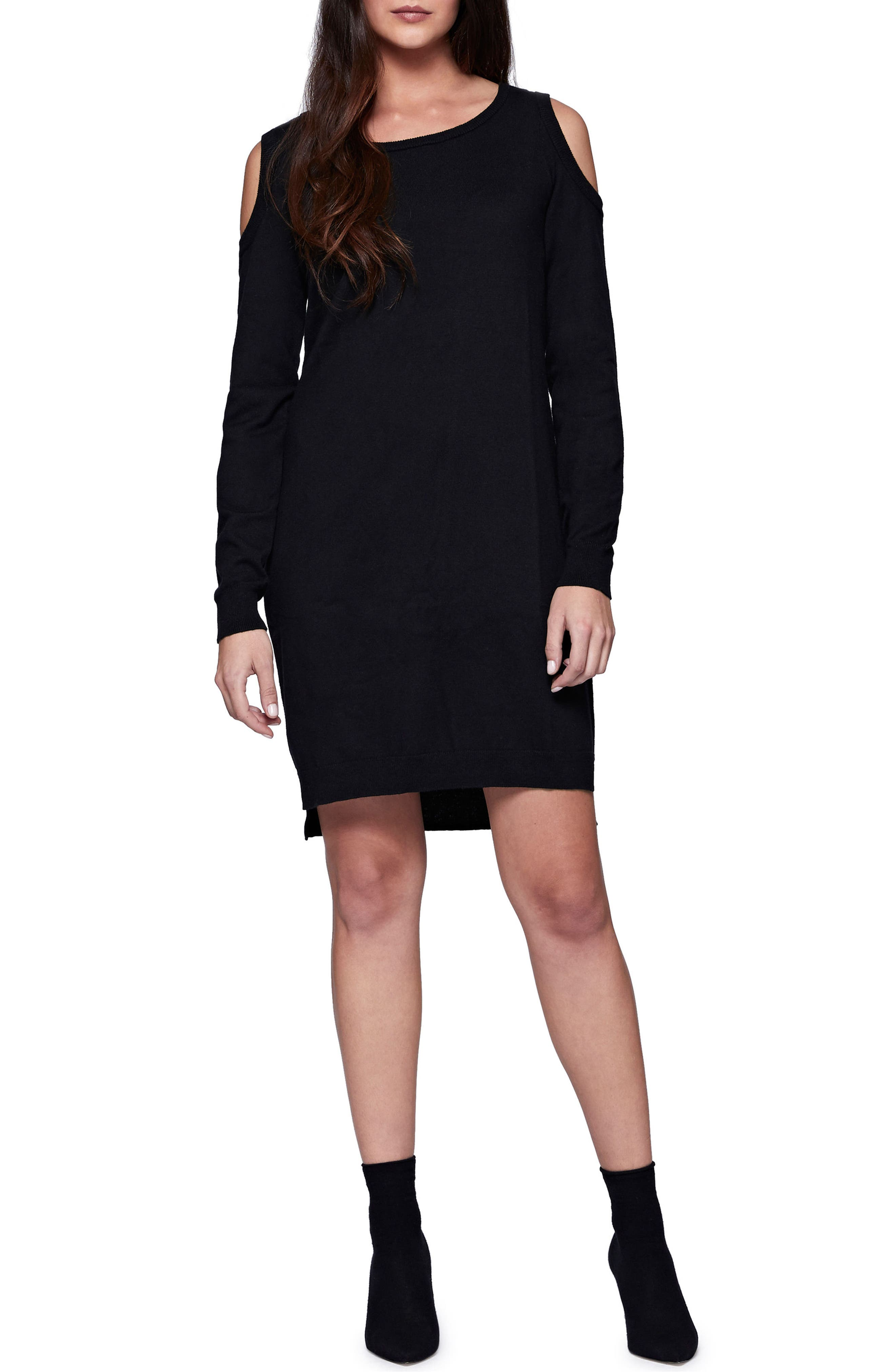 Amy Cold Shoulder Sweater Dress,                             Main thumbnail 1, color,                             001