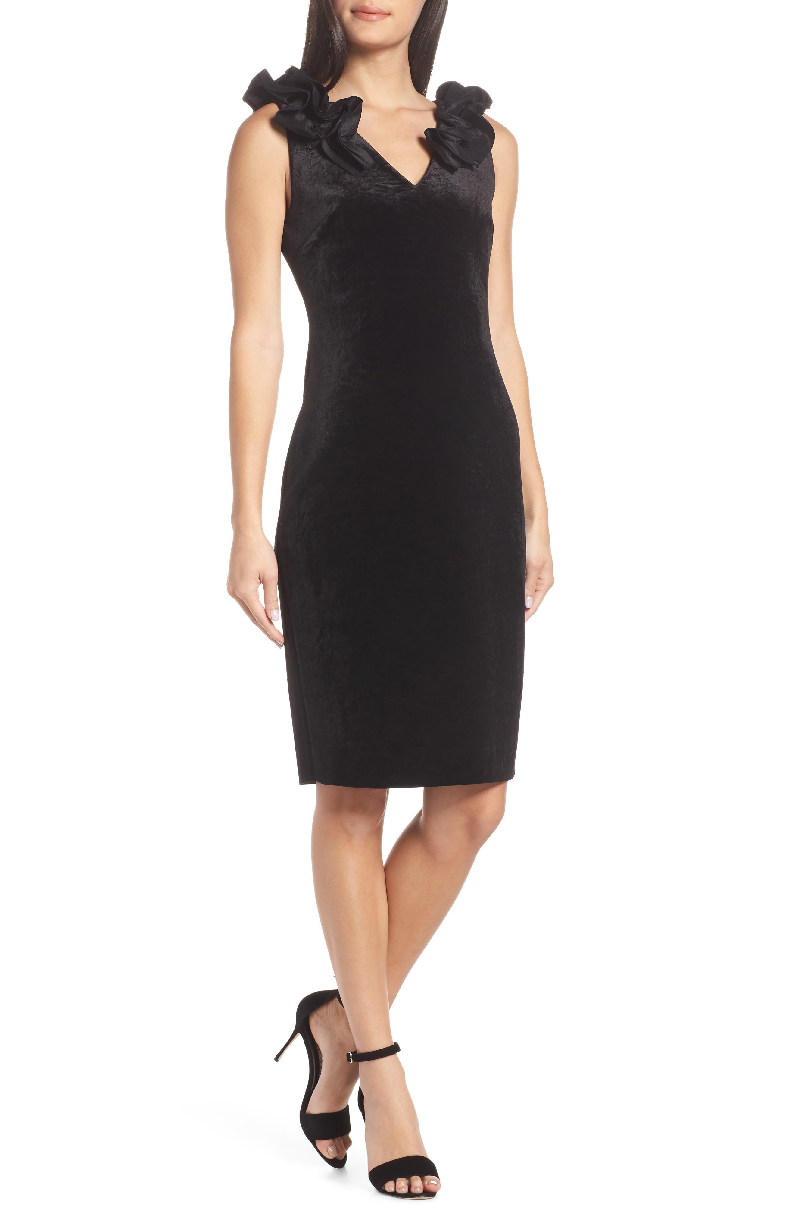 petite women's chelsea28 ruffle velvet sheath dress, size 6p - black