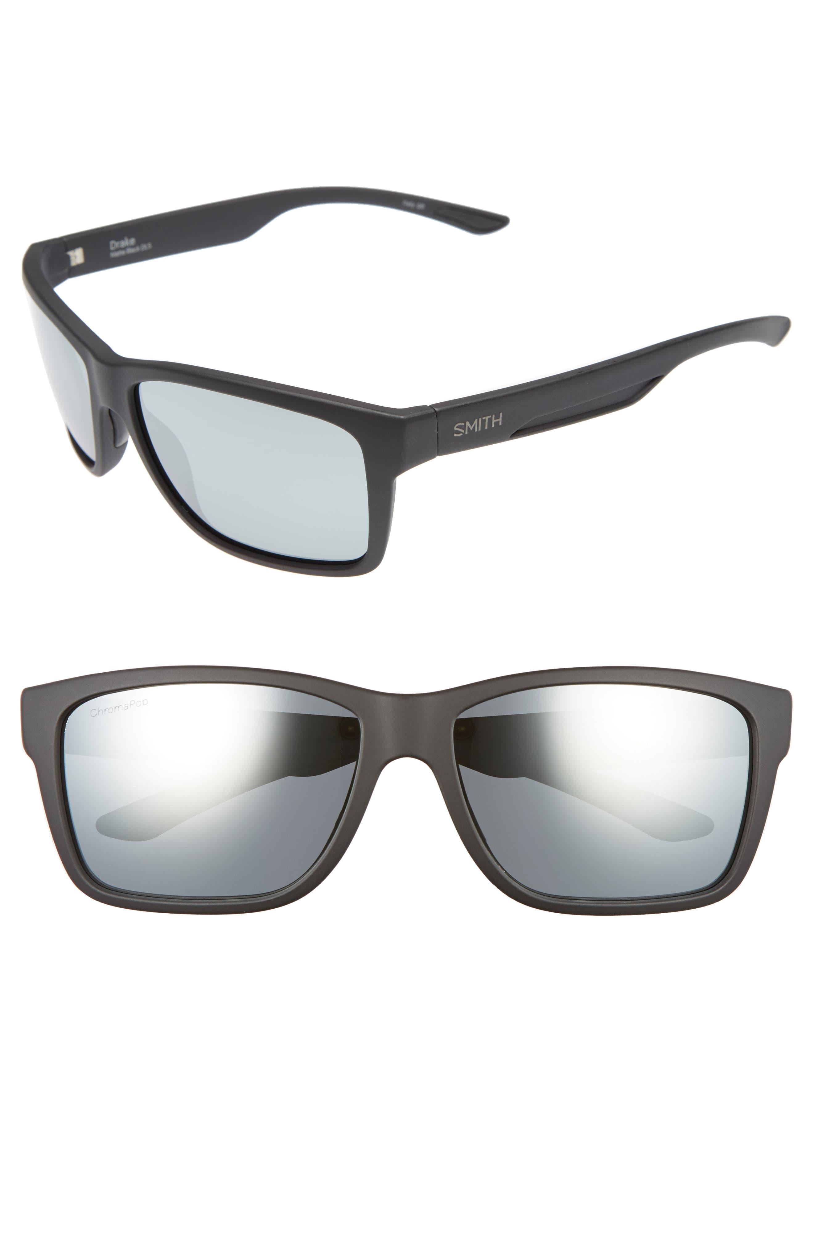 'Drake' 61mm Polarized Sunglasses,                             Main thumbnail 1, color,                             MATTE BLACK