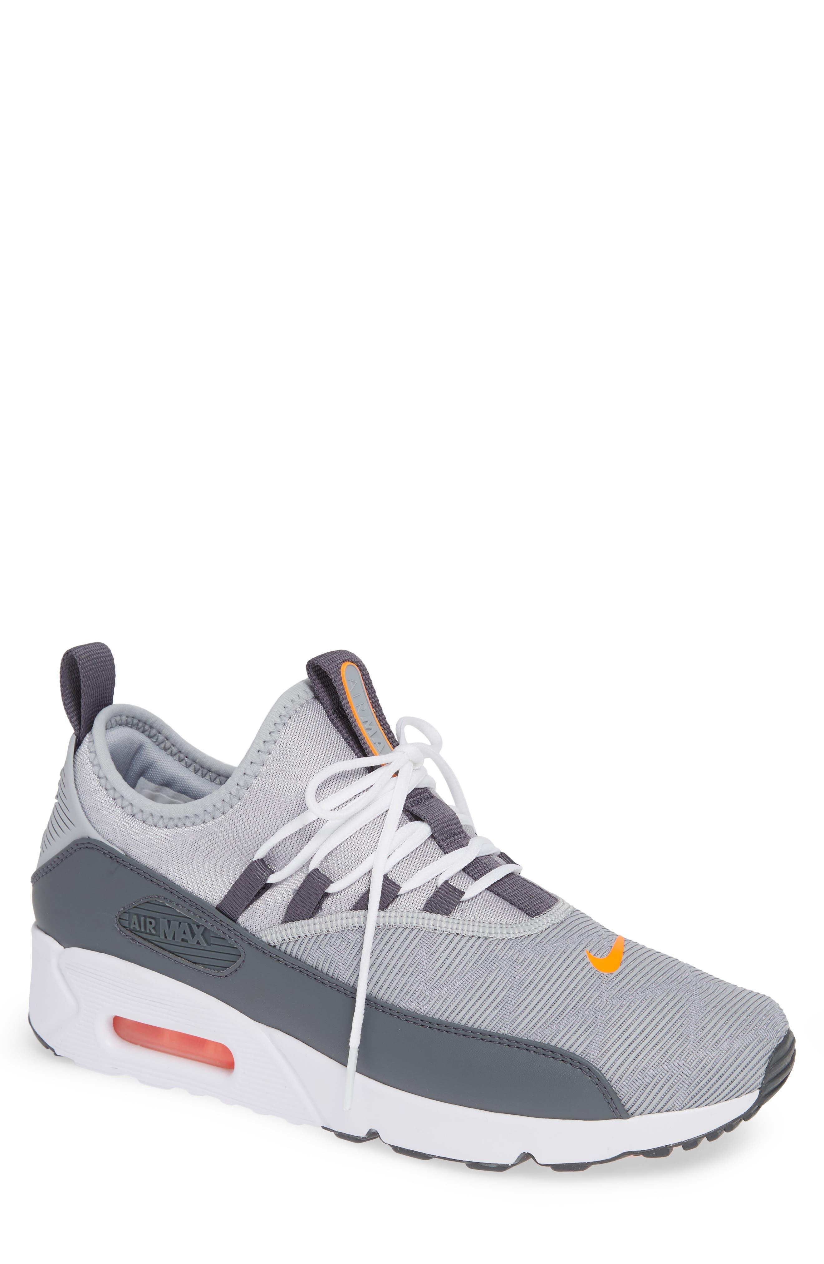 Air Max 90 EZ Sneaker,                             Main thumbnail 1, color,                             WOLF GREY/ TOTAL ORANGE/ WHITE