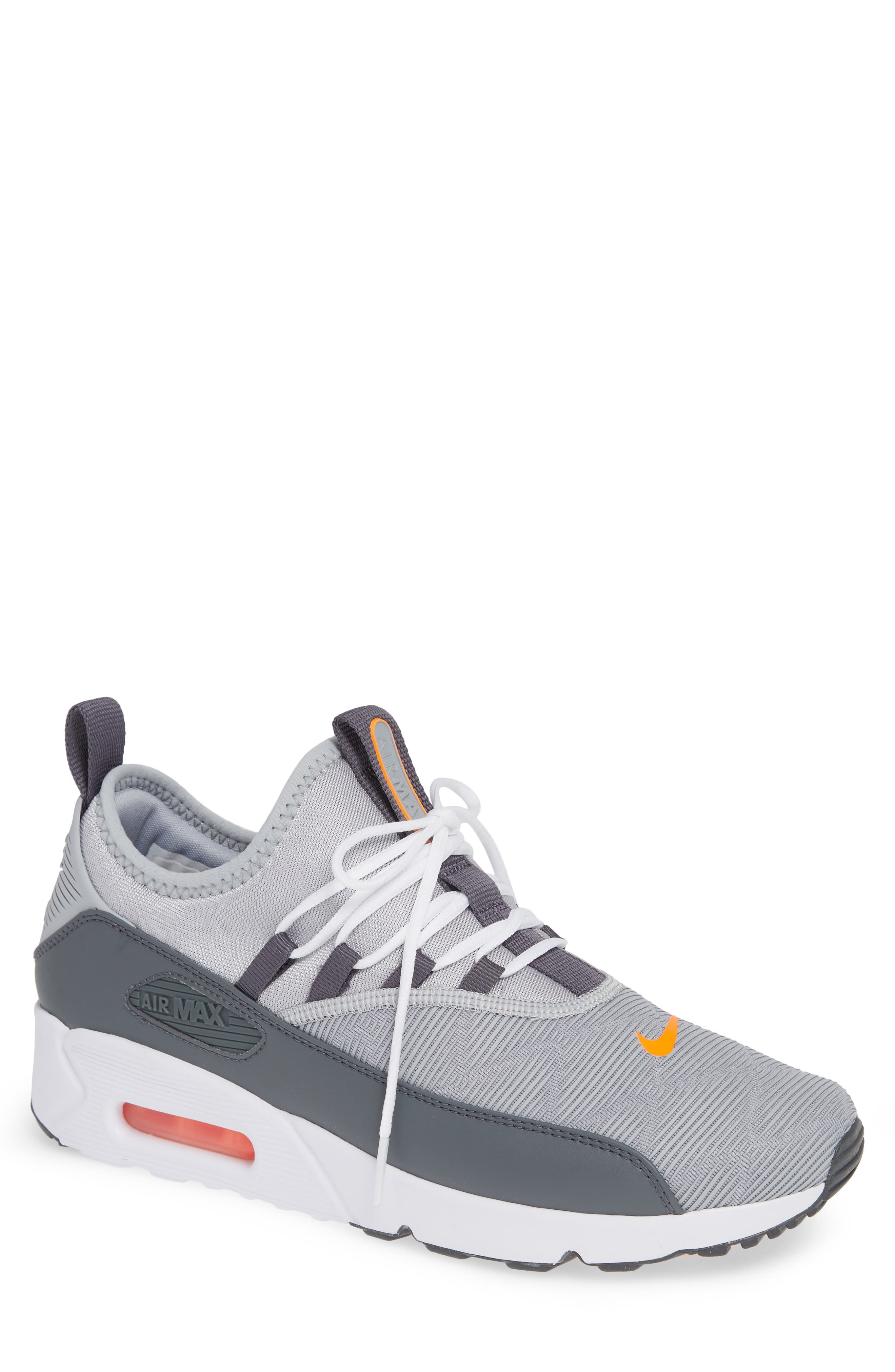 Air Max 90 EZ Sneaker,                         Main,                         color, WOLF GREY/ TOTAL ORANGE/ WHITE