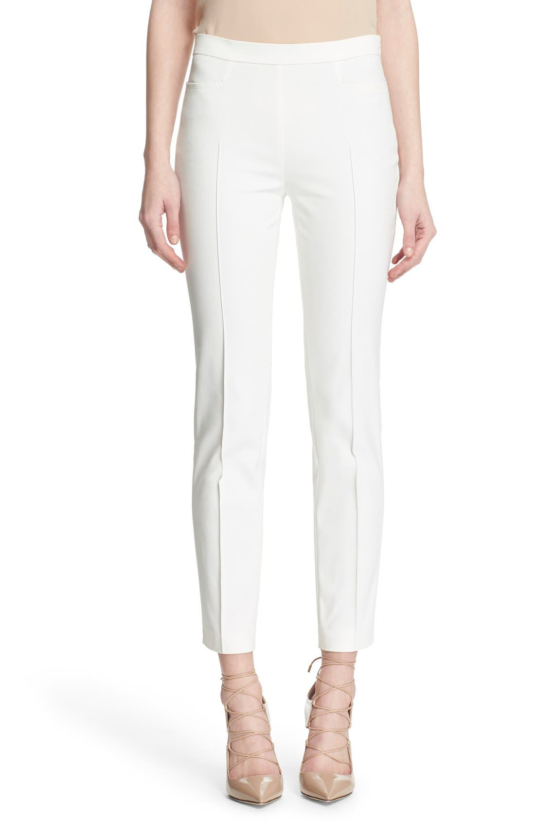 'Franca' Techno Cotton Blend Ankle Pants,                             Main thumbnail 1, color,                             ECRU