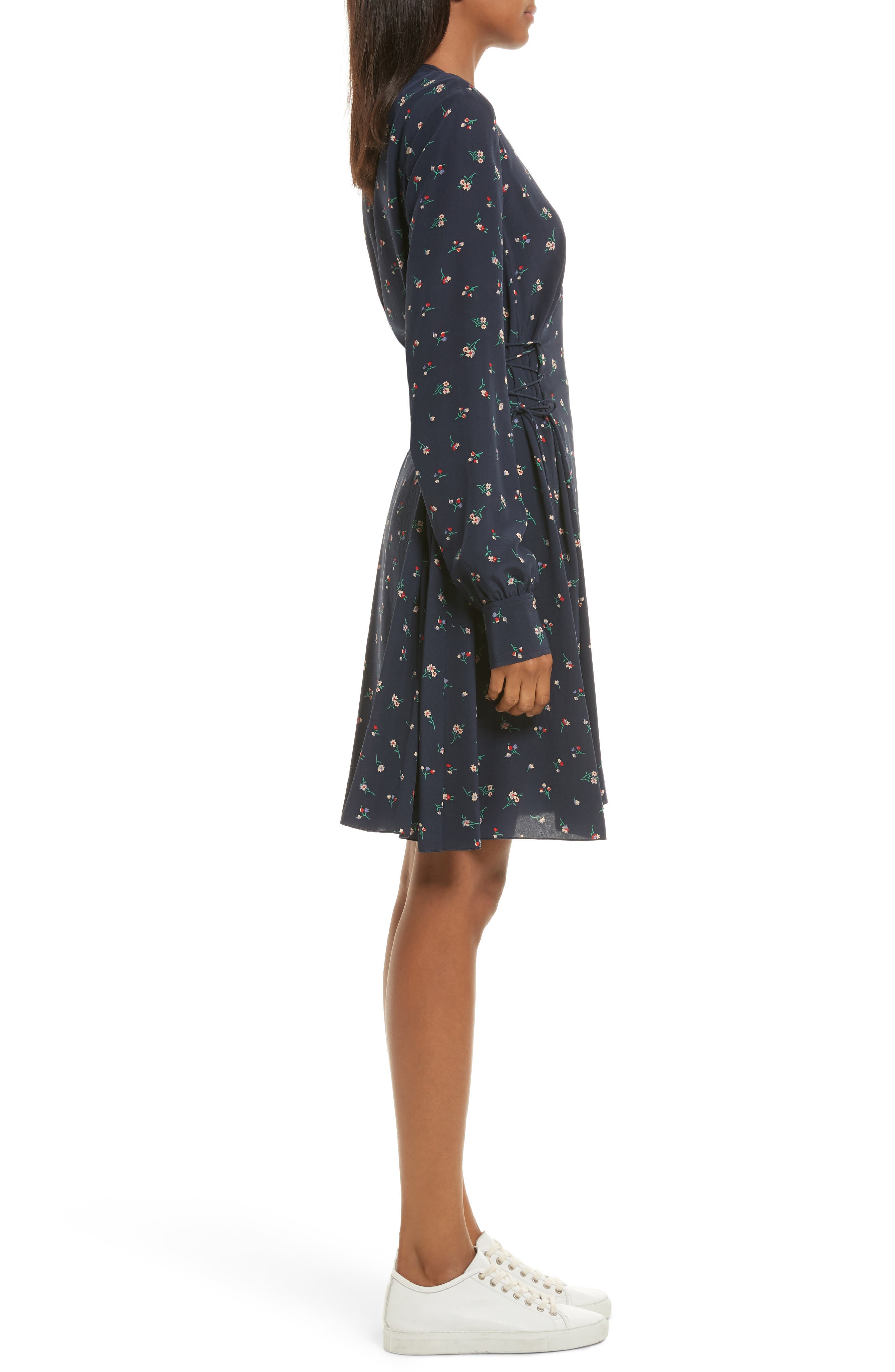 THEORY,                             Floral Print Lace-Up Silk Dress,                             Alternate thumbnail 3, color,                             491