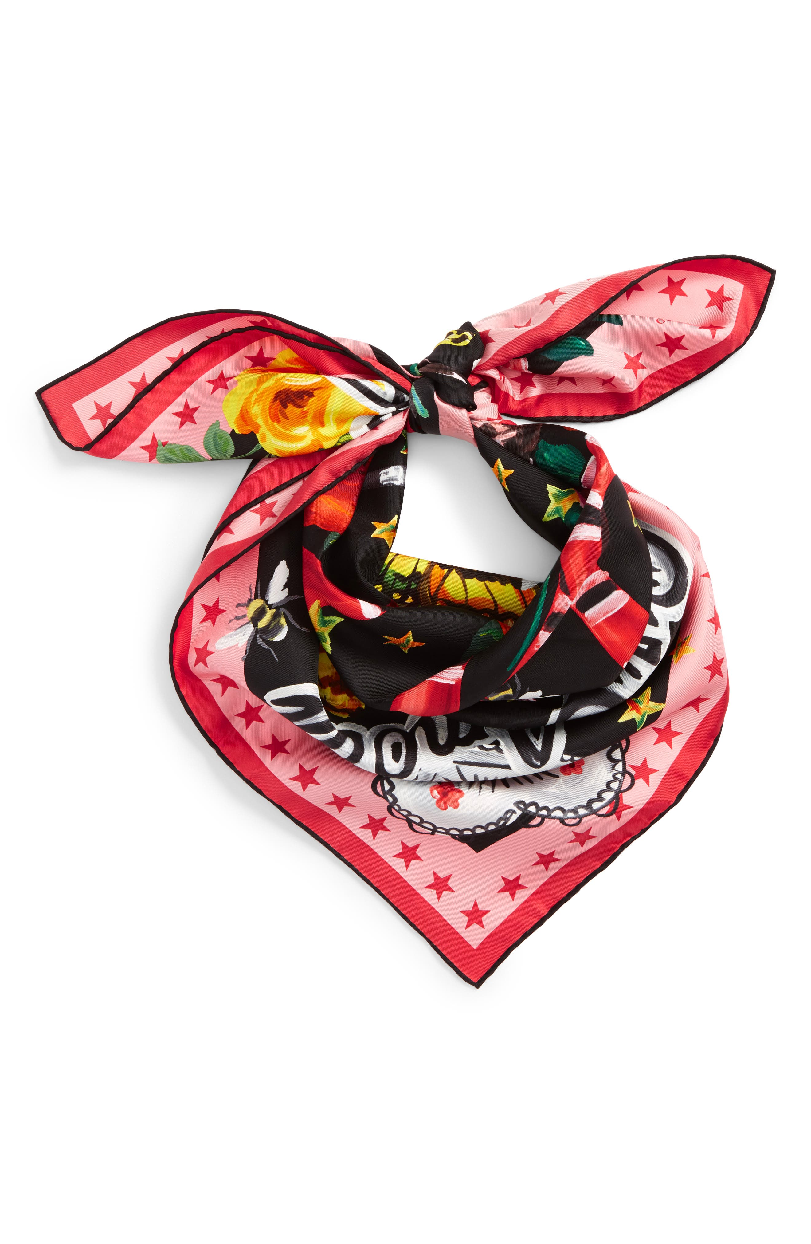 Foulard Jakam Silk Scarf,                             Alternate thumbnail 2, color,                             010
