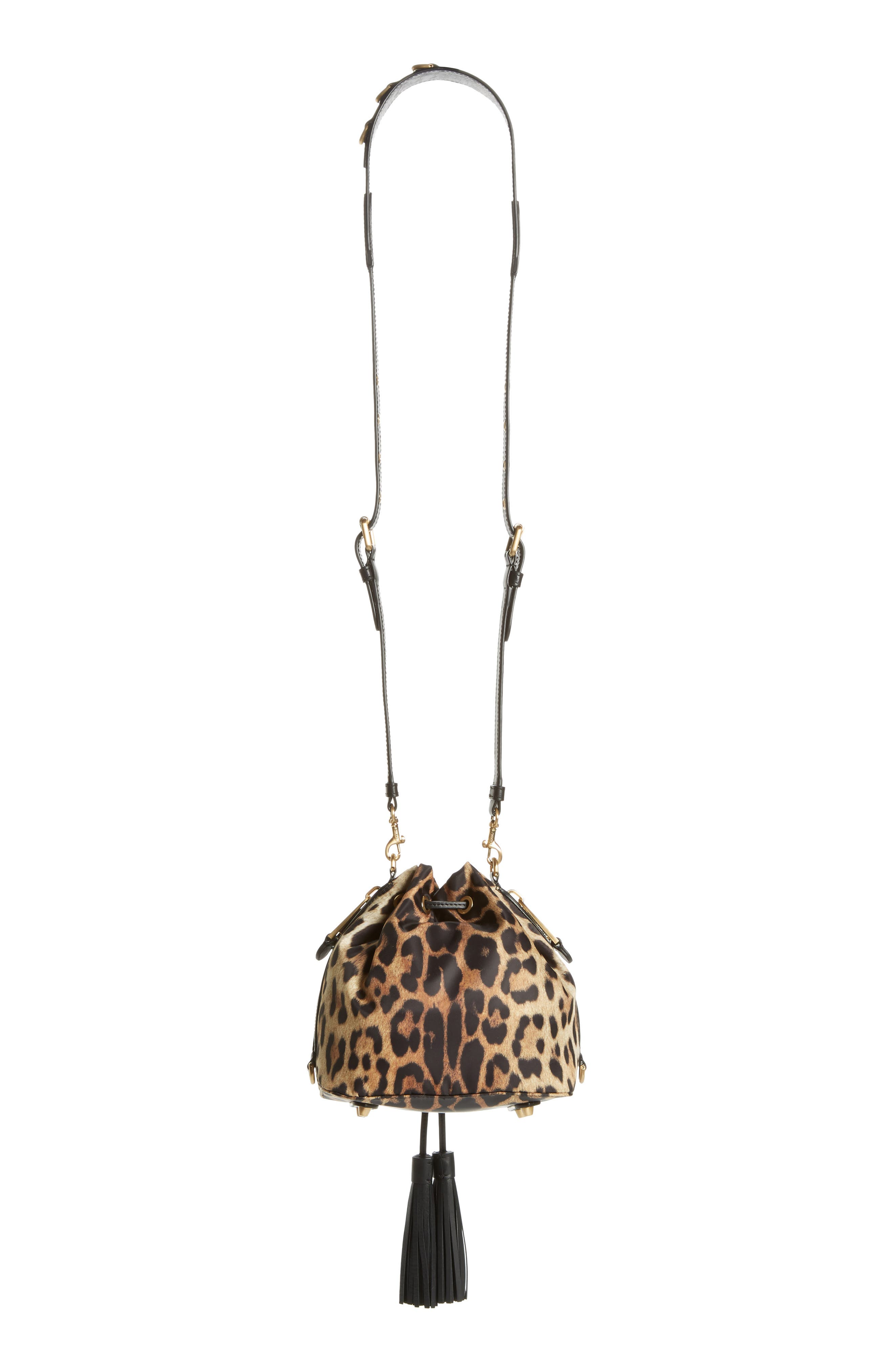 Leopard Print Nylon Convertible Bucket Bag,                             Alternate thumbnail 4, color,                             BLACK