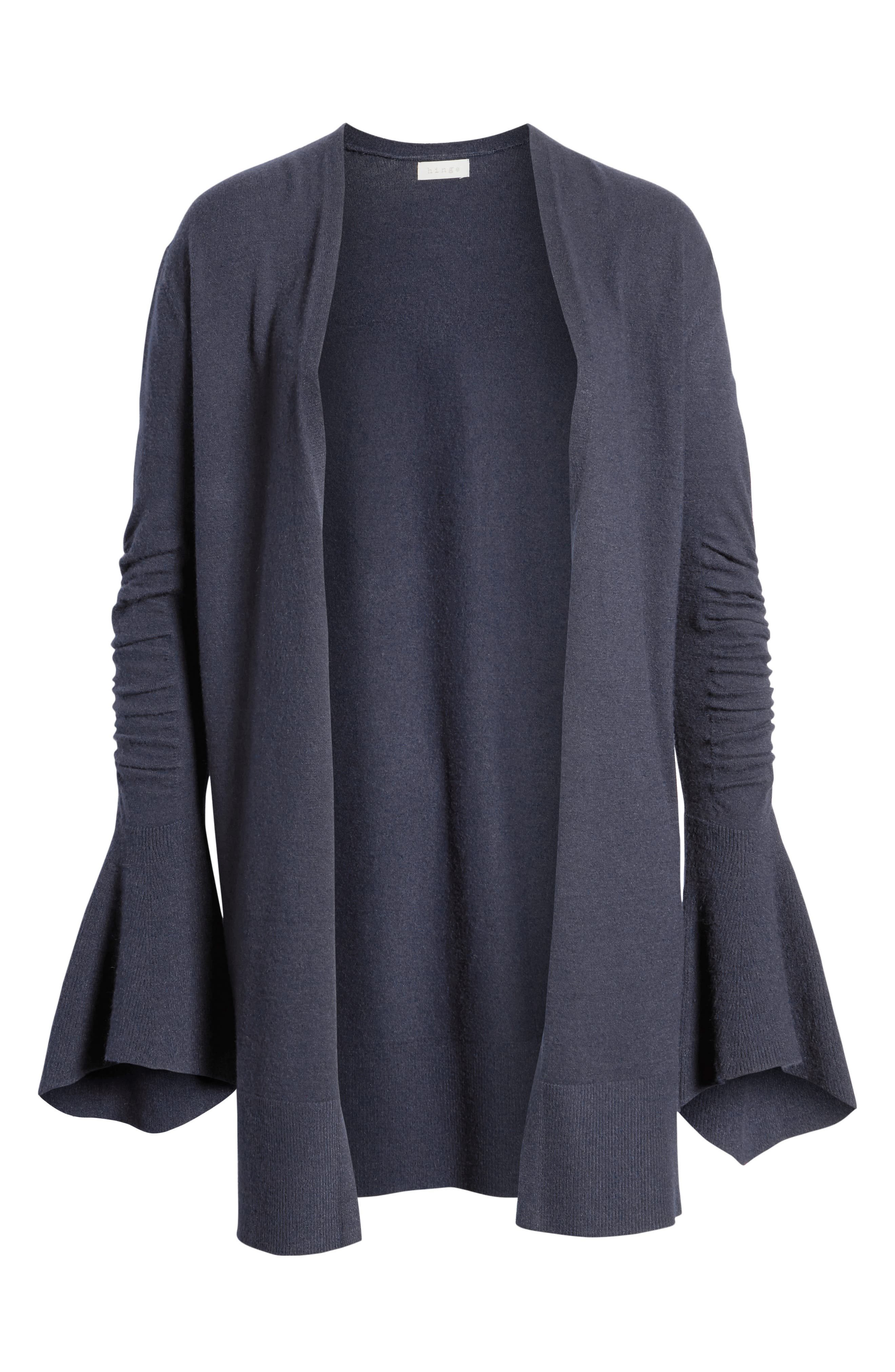 Ruched Bell Sleeve Cardigan,                             Alternate thumbnail 6, color,                             412