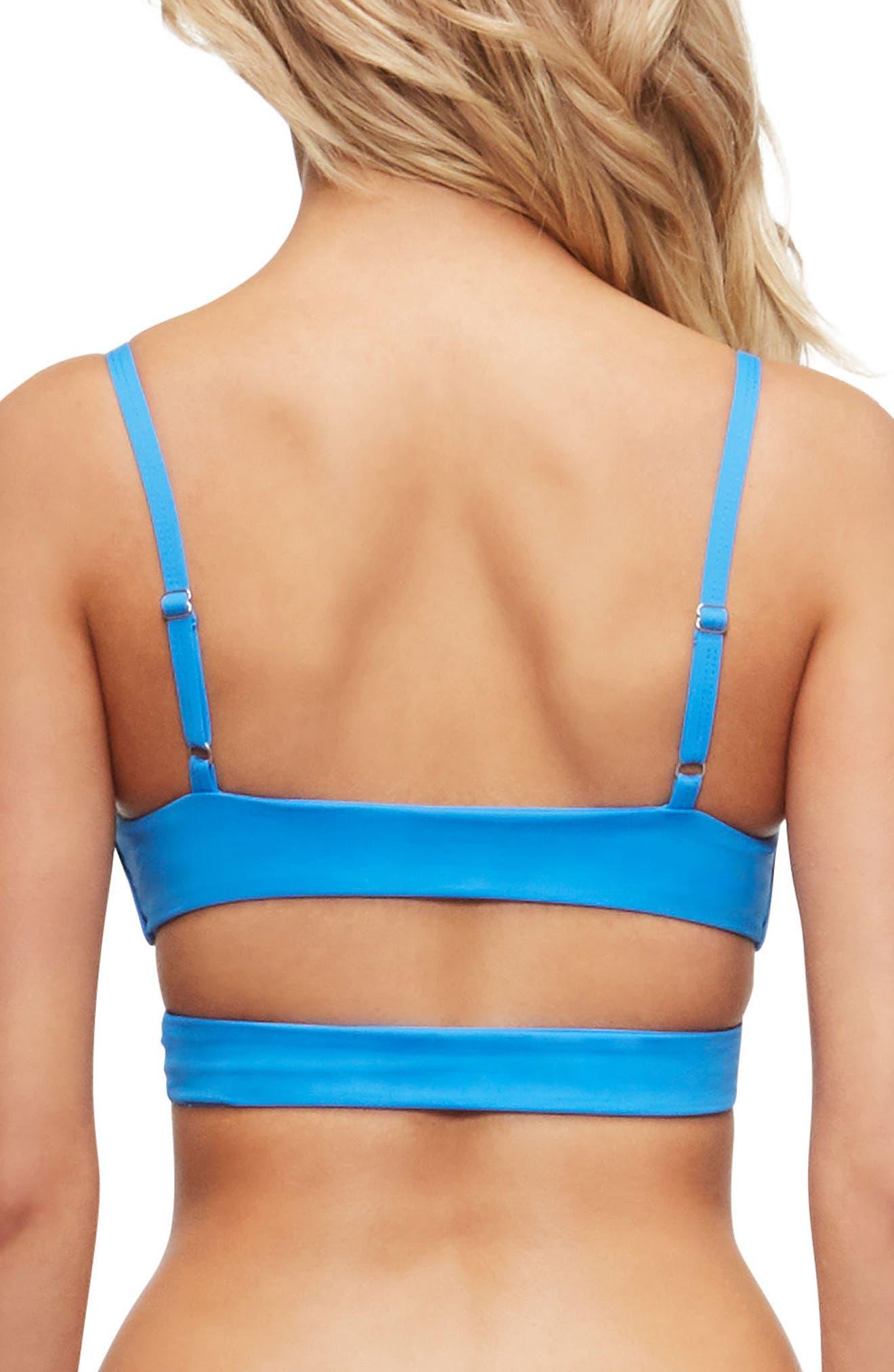 'Jessi' Cutout Triangle Bikini Top,                             Alternate thumbnail 2, color,                             FRENCH BLUE