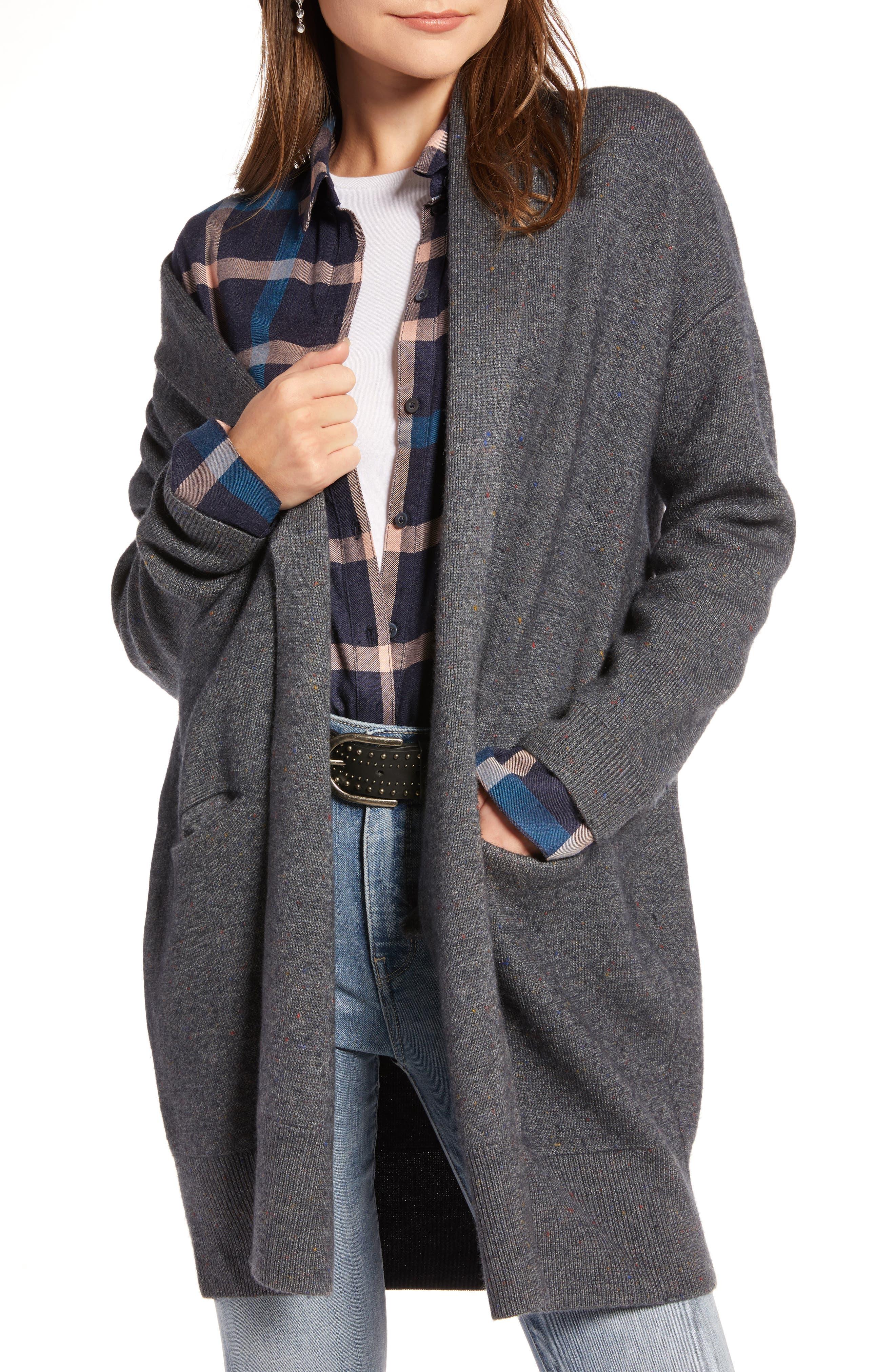 TREASURE & BOND,                             Boiled Wool Blend Long Cardigan,                             Main thumbnail 1, color,                             030