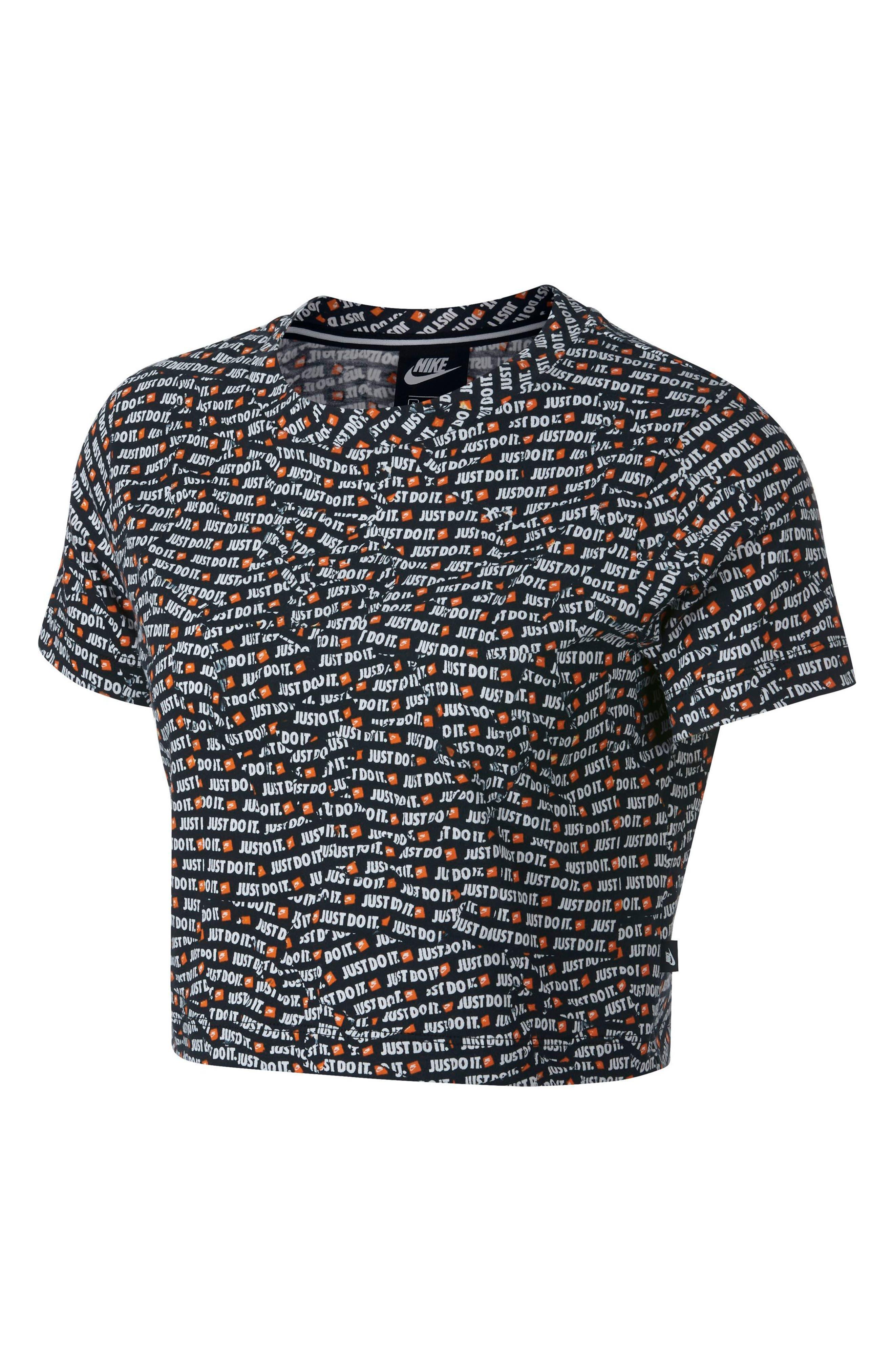 Sportswear Just Do It Women's Short Sleeve Crop Top,                         Main,                         color, BLACK