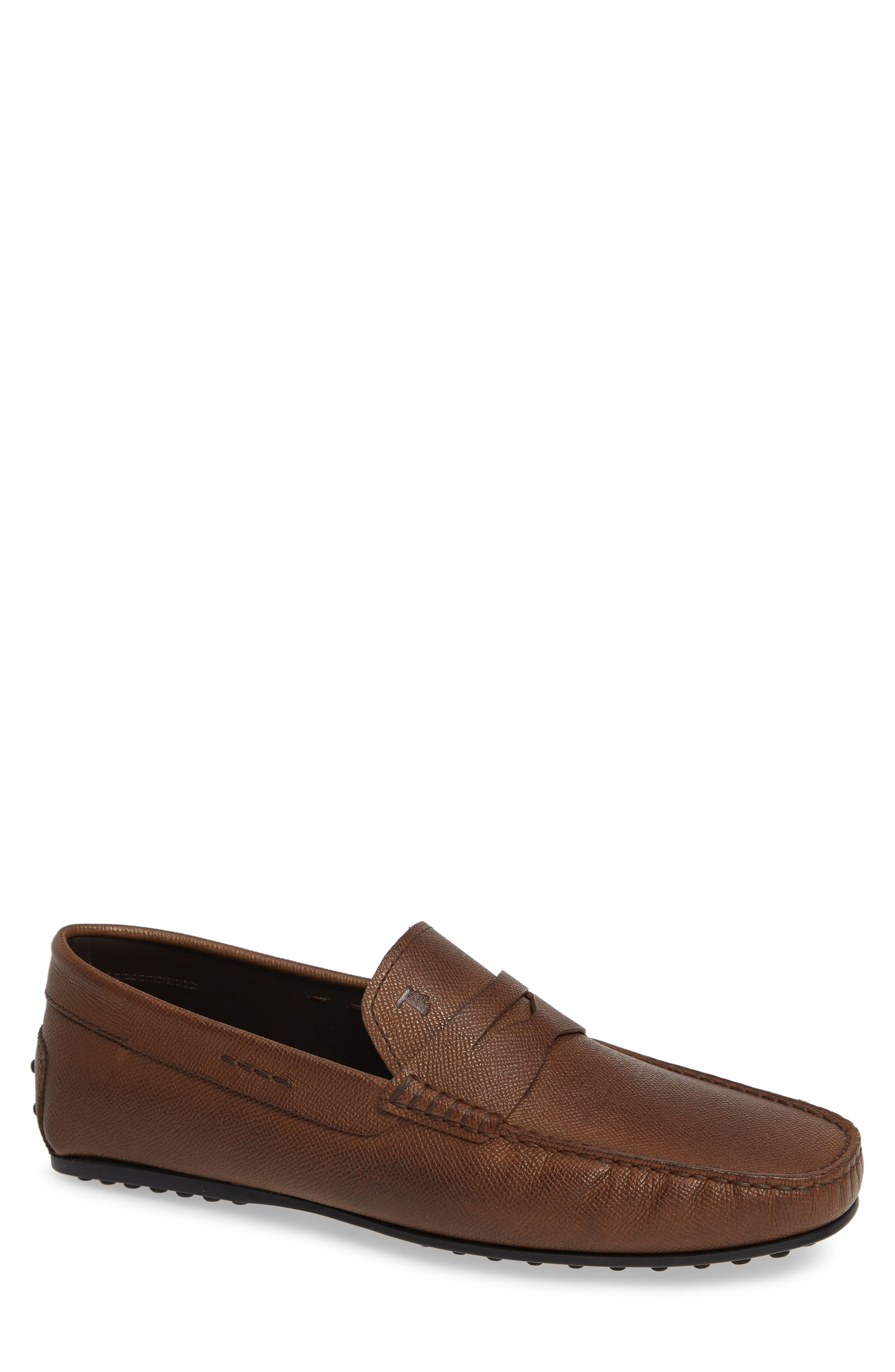 TOD'S 'City' Penny Driving Shoe, Main, color, BROWN