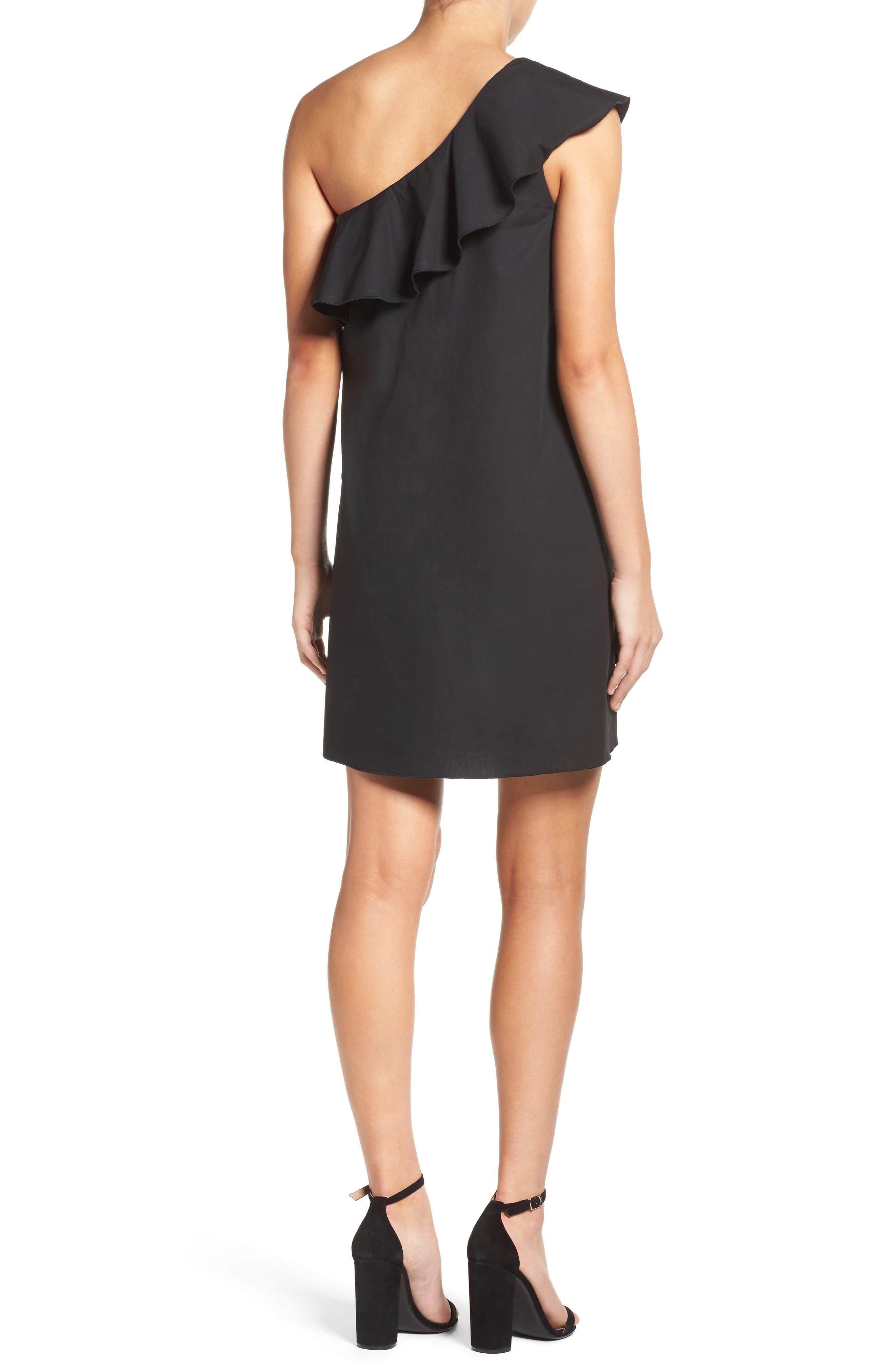 One-Shoulder Ruffle Dress,                             Alternate thumbnail 2, color,                             001