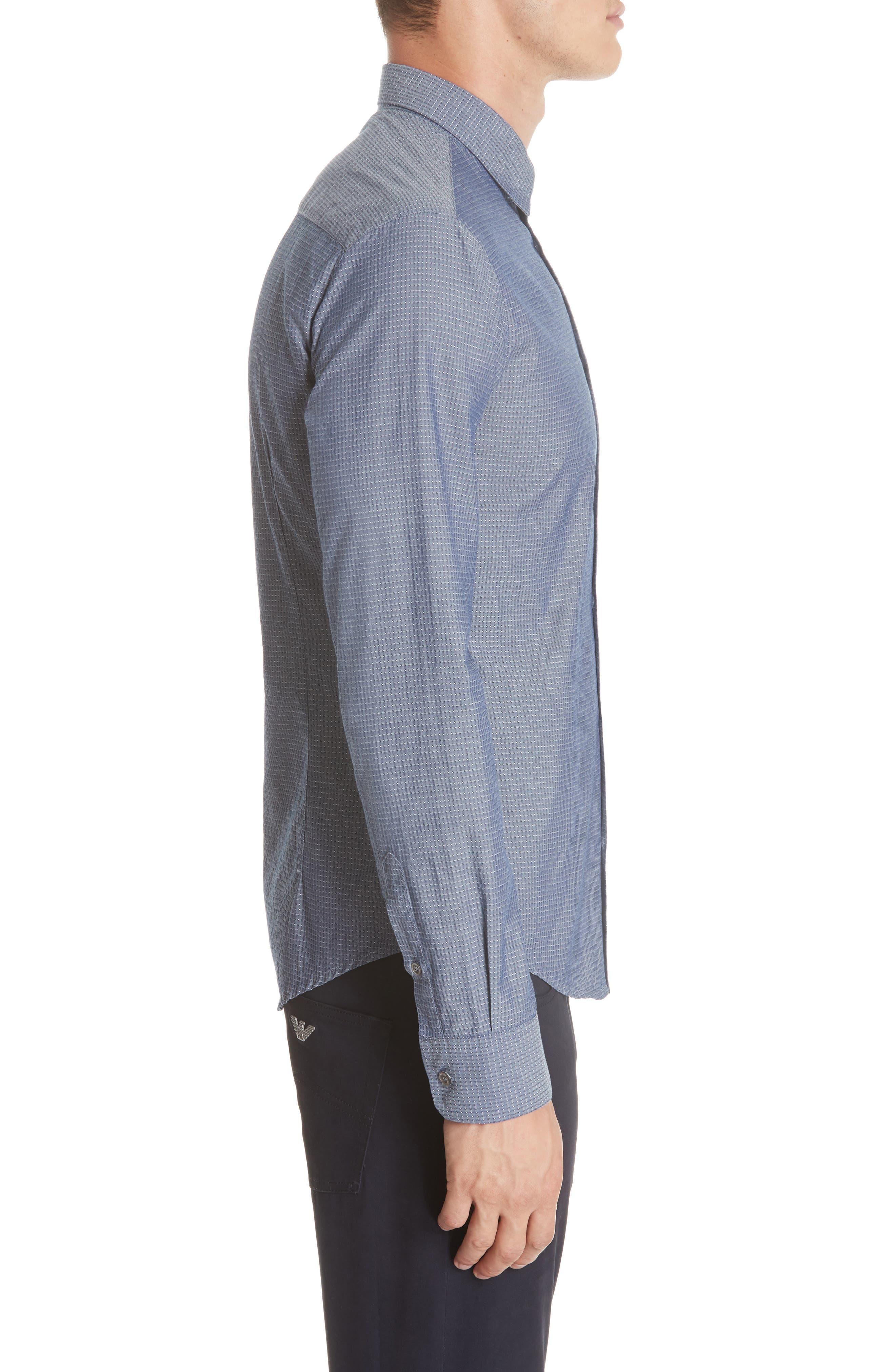 Slim Fit Solid Sport Shirt,                             Alternate thumbnail 3, color,                             BLUE MULTI