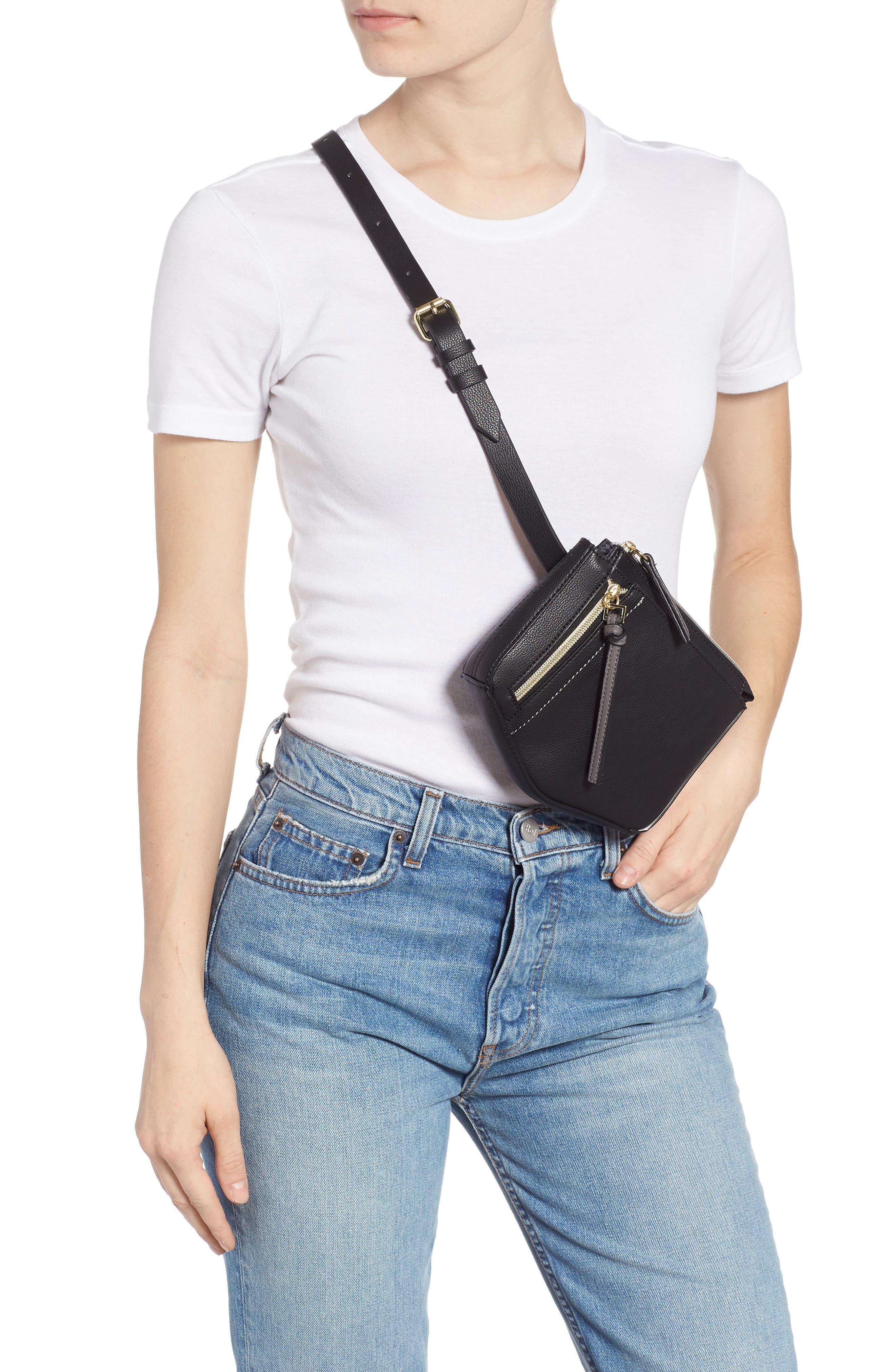 Elia Faux Leather Belt Bag,                             Alternate thumbnail 3, color,                             BLACK