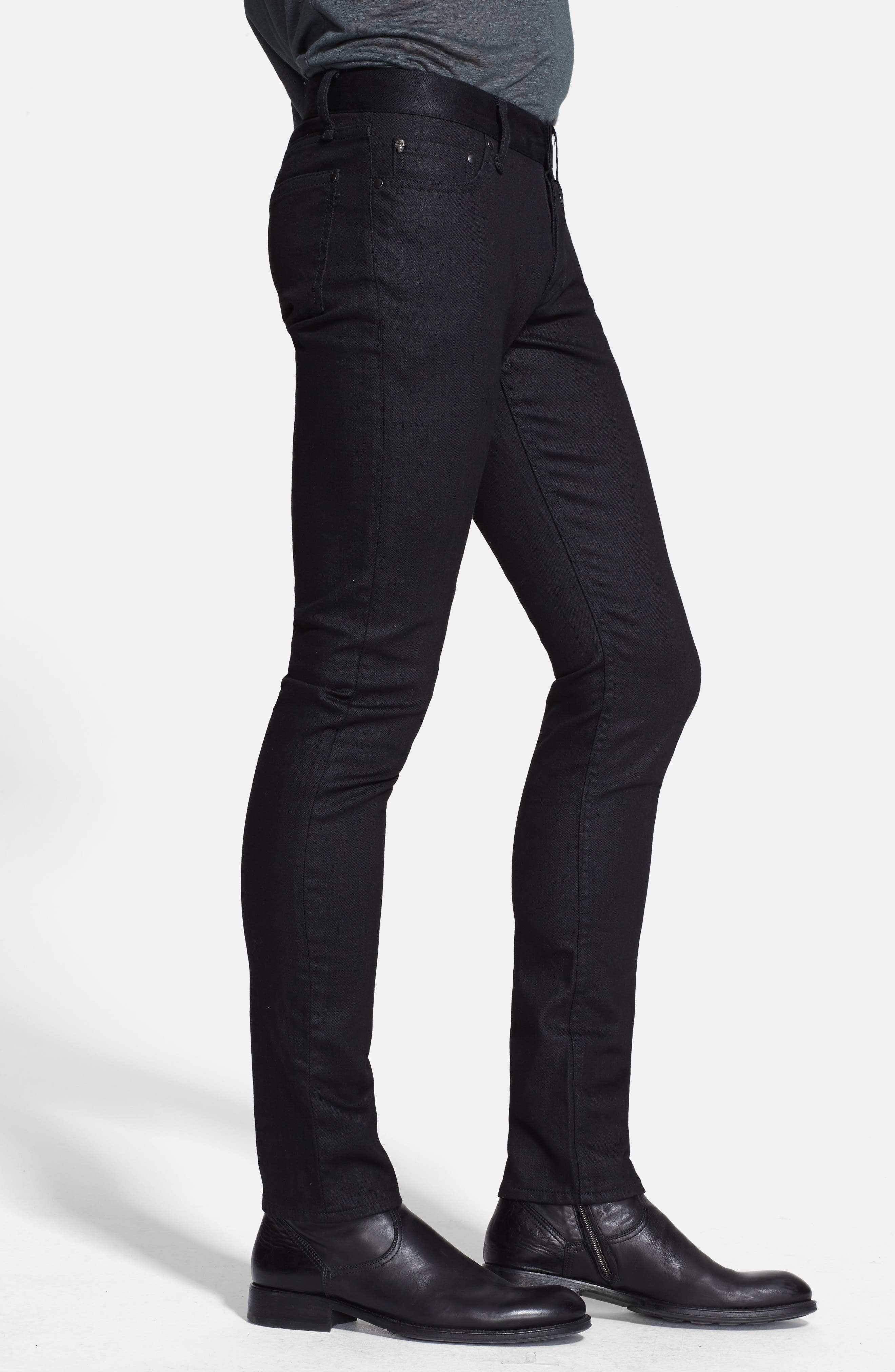 Skinny Fit Coated Jeans,                             Alternate thumbnail 3, color,                             001