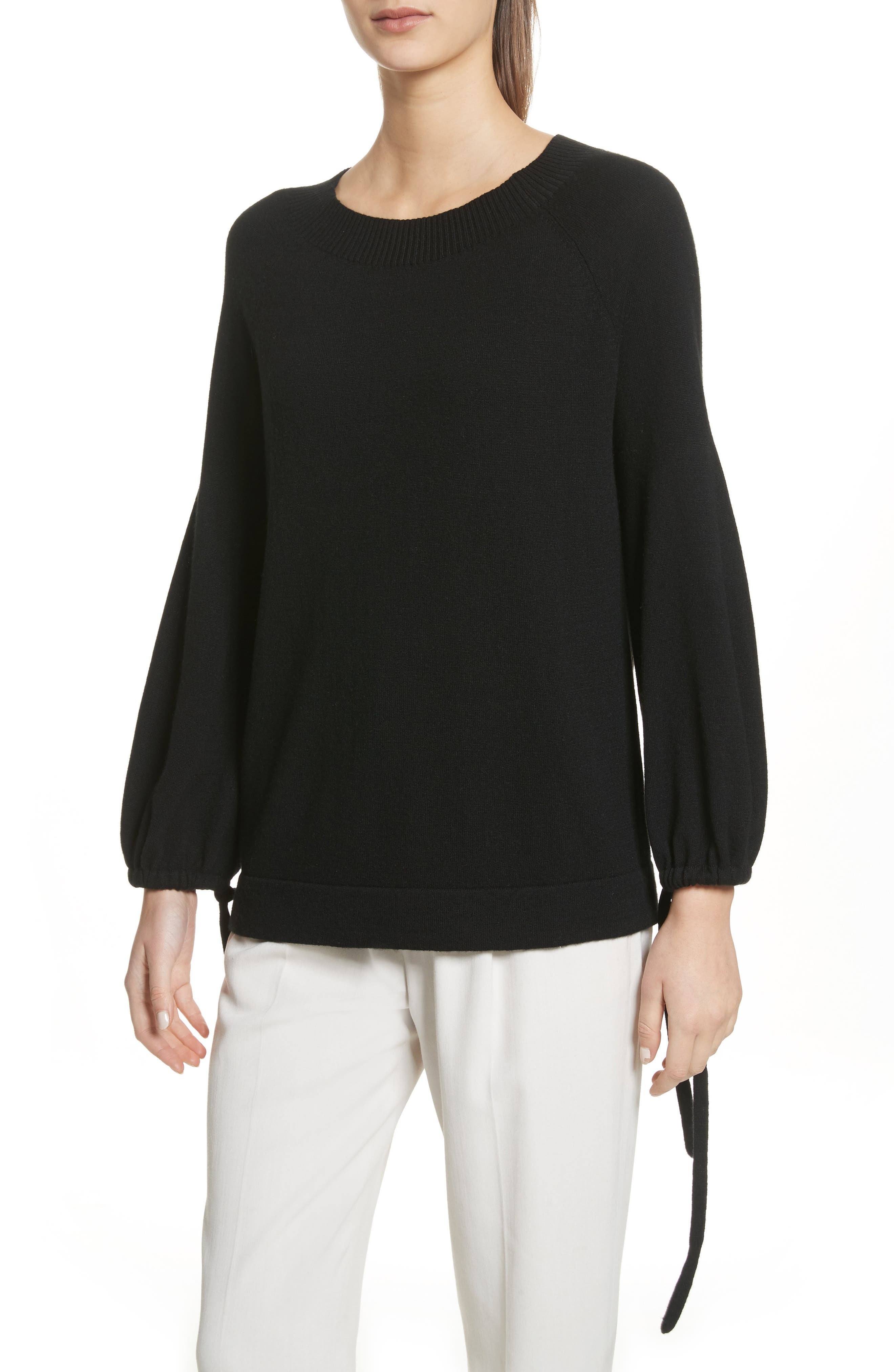 Scrunch Sleeve Cashmere Sweater,                             Main thumbnail 1, color,